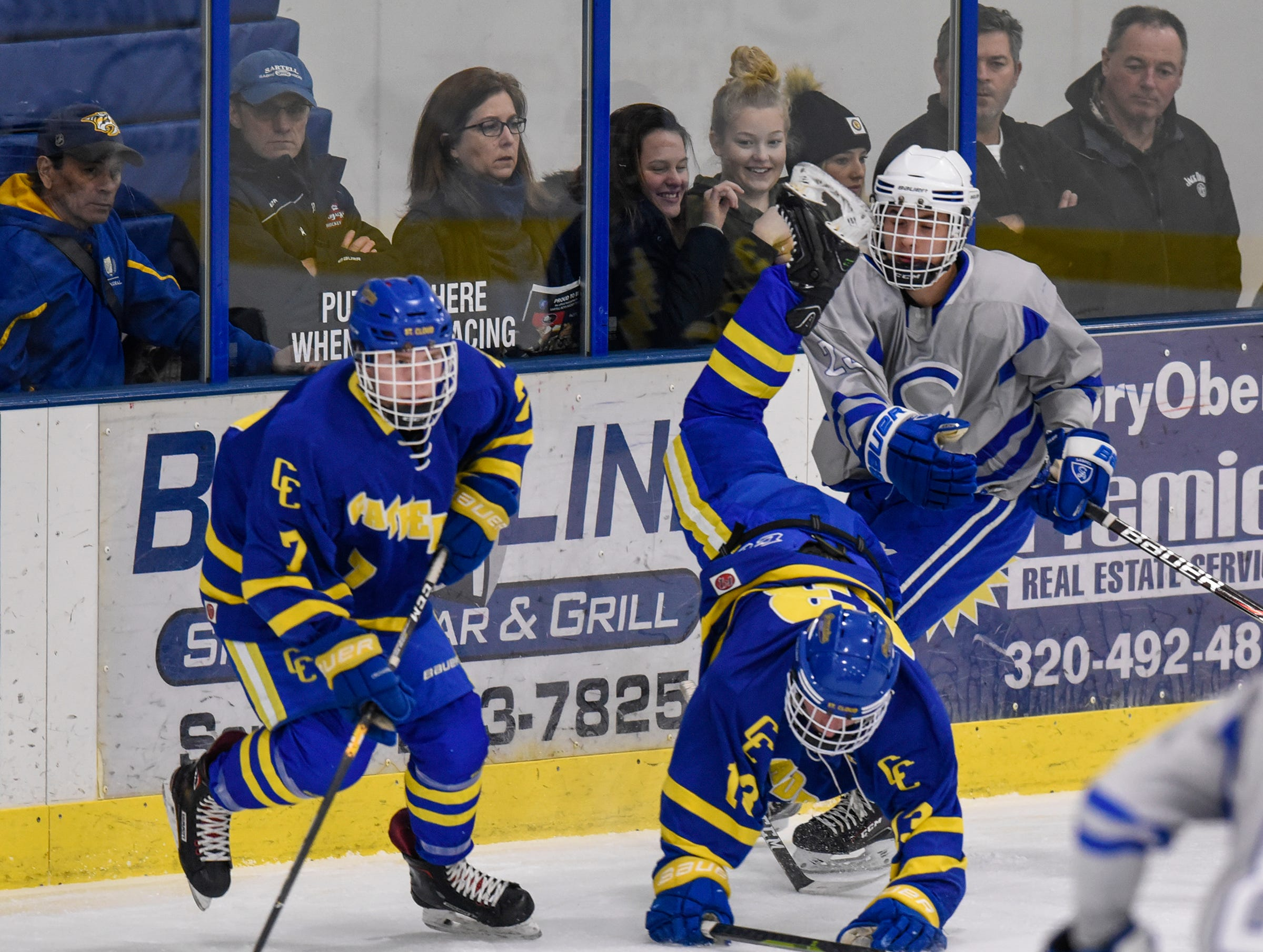 Cathedral's Nate Martin gets control of the puck during the Thursday, Jan. 10, game at Bernicks Arena in Sartell.