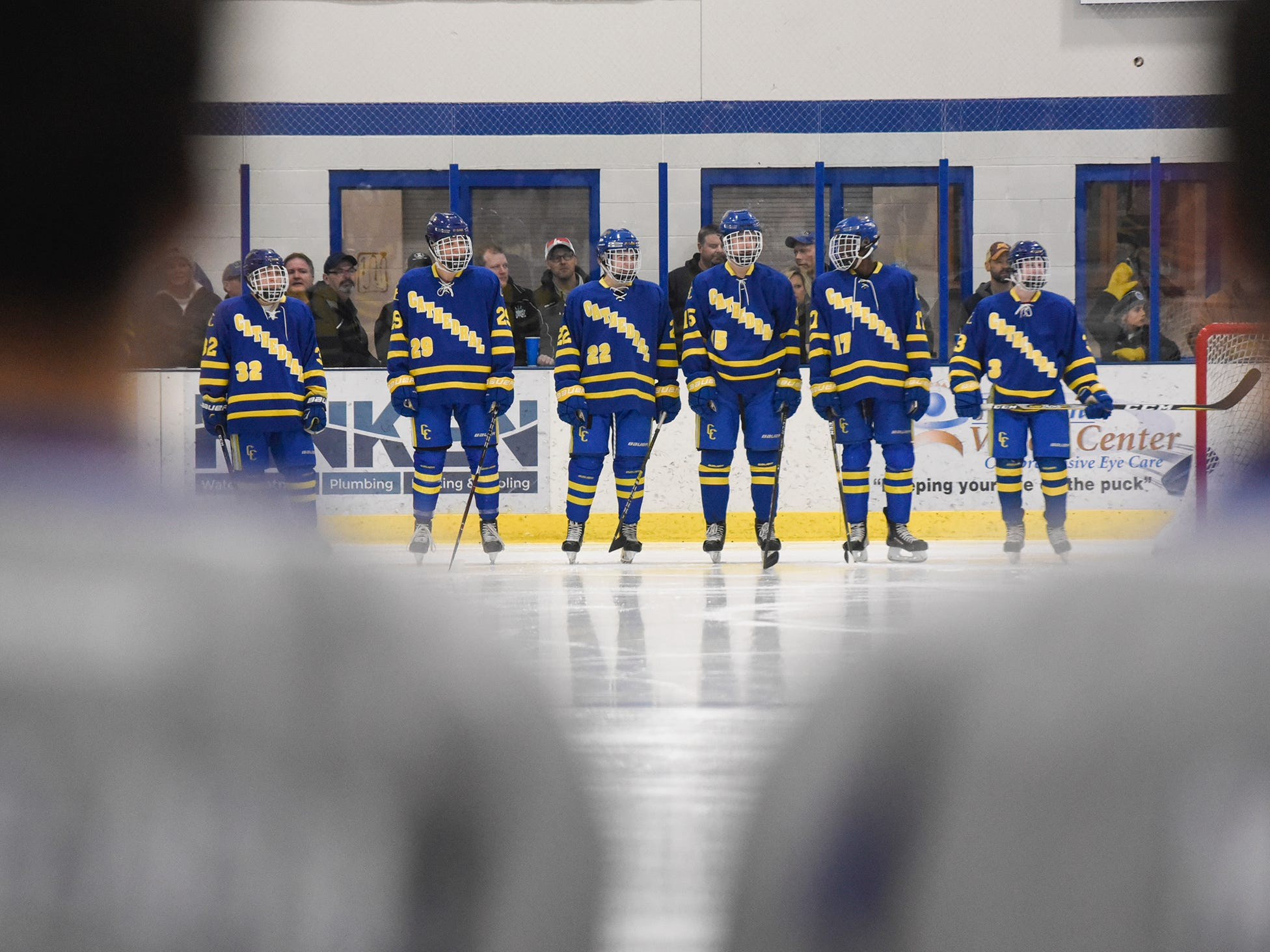 Cathedral players line up before the start of the Thursday, Jan. 10, game against Sartell at Bernicks Arena in Sartell.