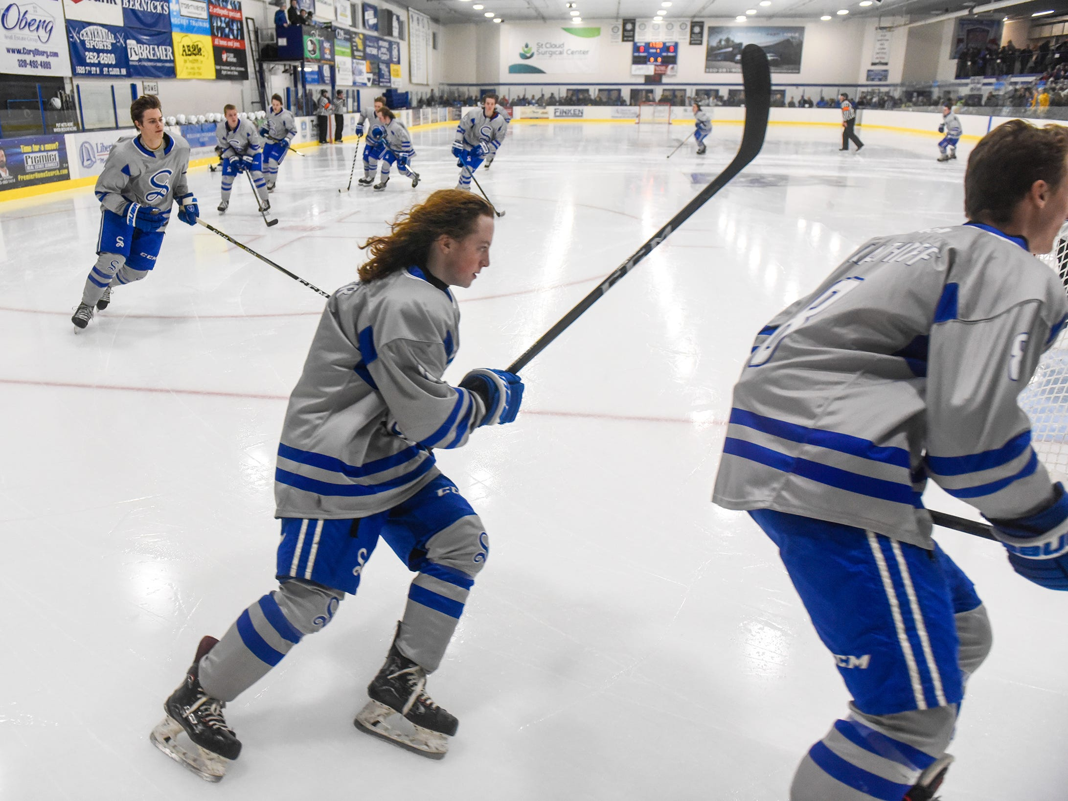 Sartell players take the ice for the Thursday, Jan. 10, game against Cathedral at Bernicks Arena in Sartell.