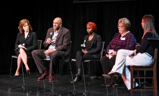 "Panelists speak following a screening of the Twin Cities Public Television documentary series ""Whole People"" Thursday, Jan. 10, in St. Cloud."