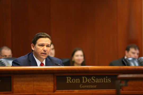 Gov. Ron DeSantis speaks during a cabinet meeting Friday, Jan. 11, 2019.
