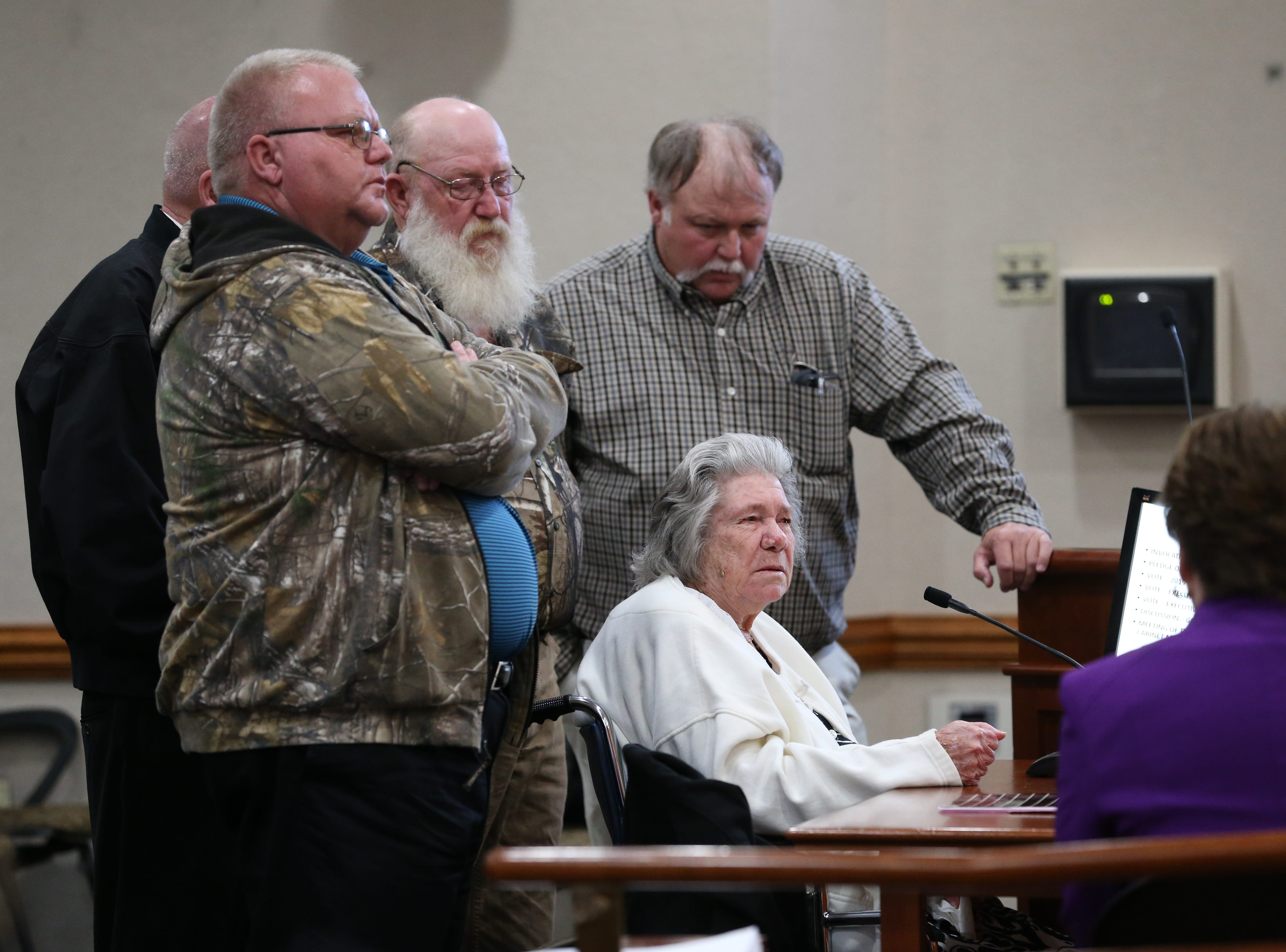 Surrounded by her sons, Norma Padgett, the accuser of the Groveland Four, hits her fist on the table and pleads with the clemency board not to pardon the Groveland Four during a clemency board hearing where the four were pardoned Friday, Jan. 11, 2019.