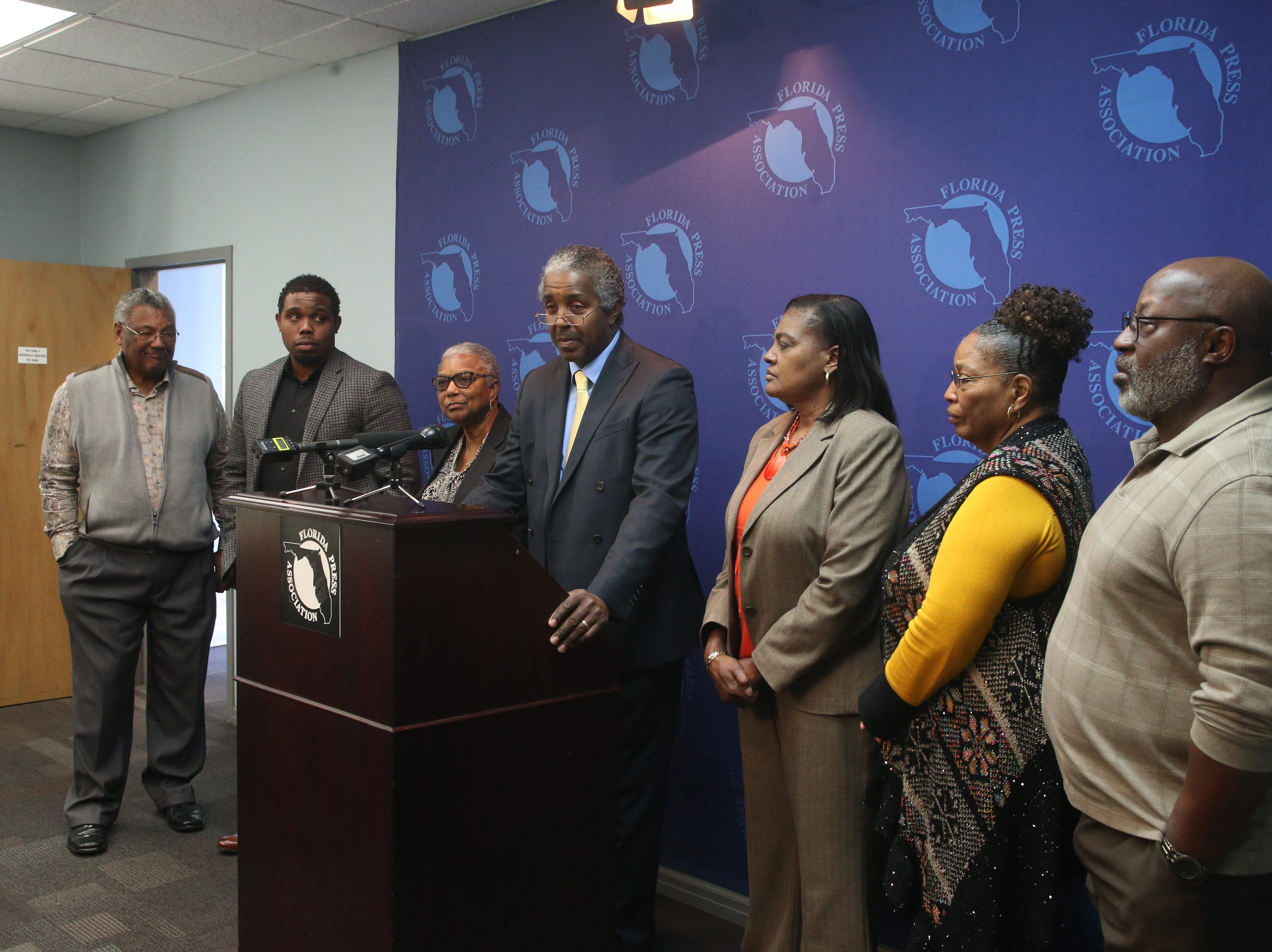 Members of the Greenlee family hold a press conference with the media after Charles Greenlee, one of the Groveland Four, was pardoned Friday, Jan. 11, 2019.
