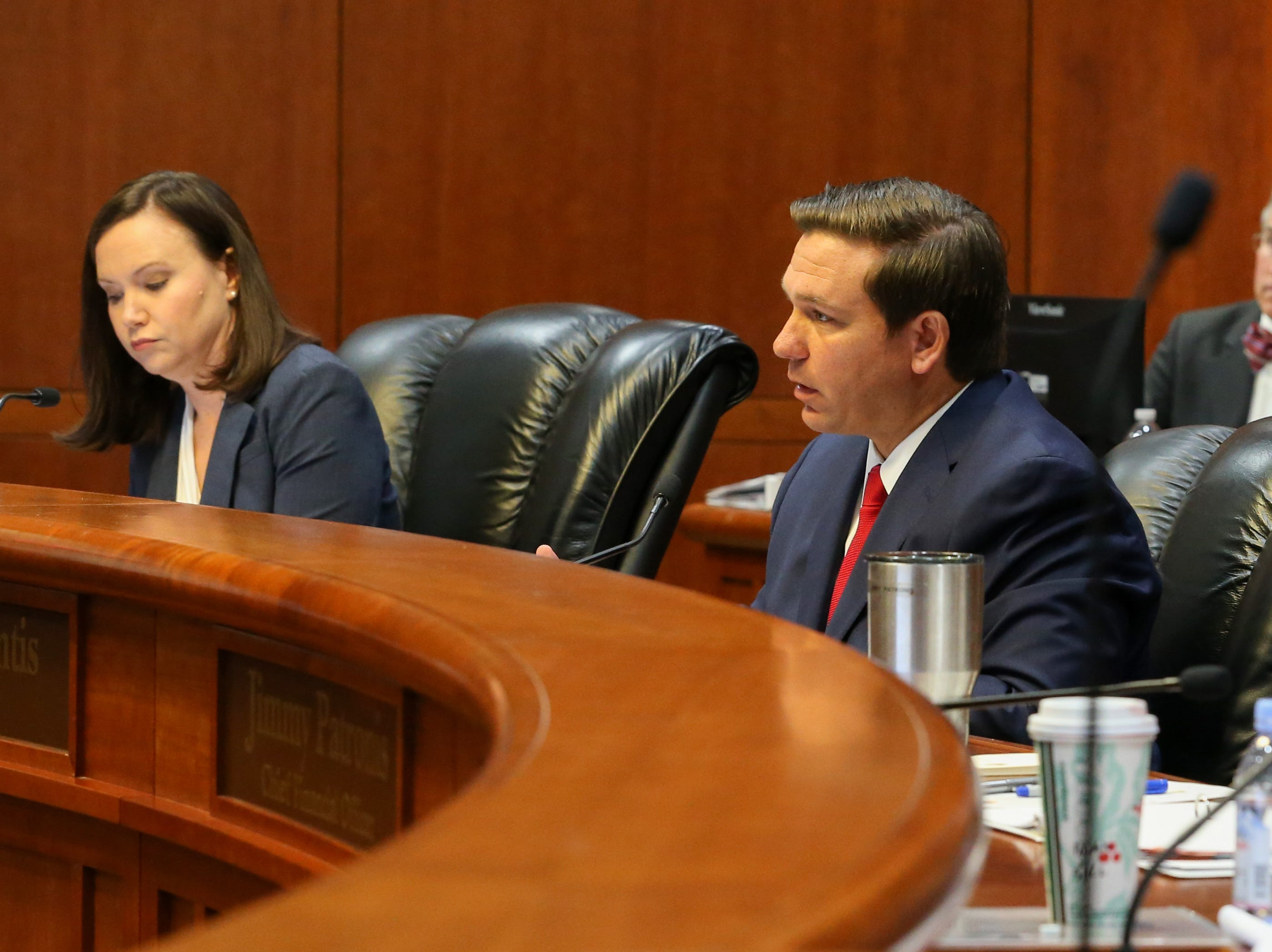 Gov. Ron DeSantis speaks during a clemency board hearing where the Groveland Four were pardoned Friday, Jan. 11, 2019.