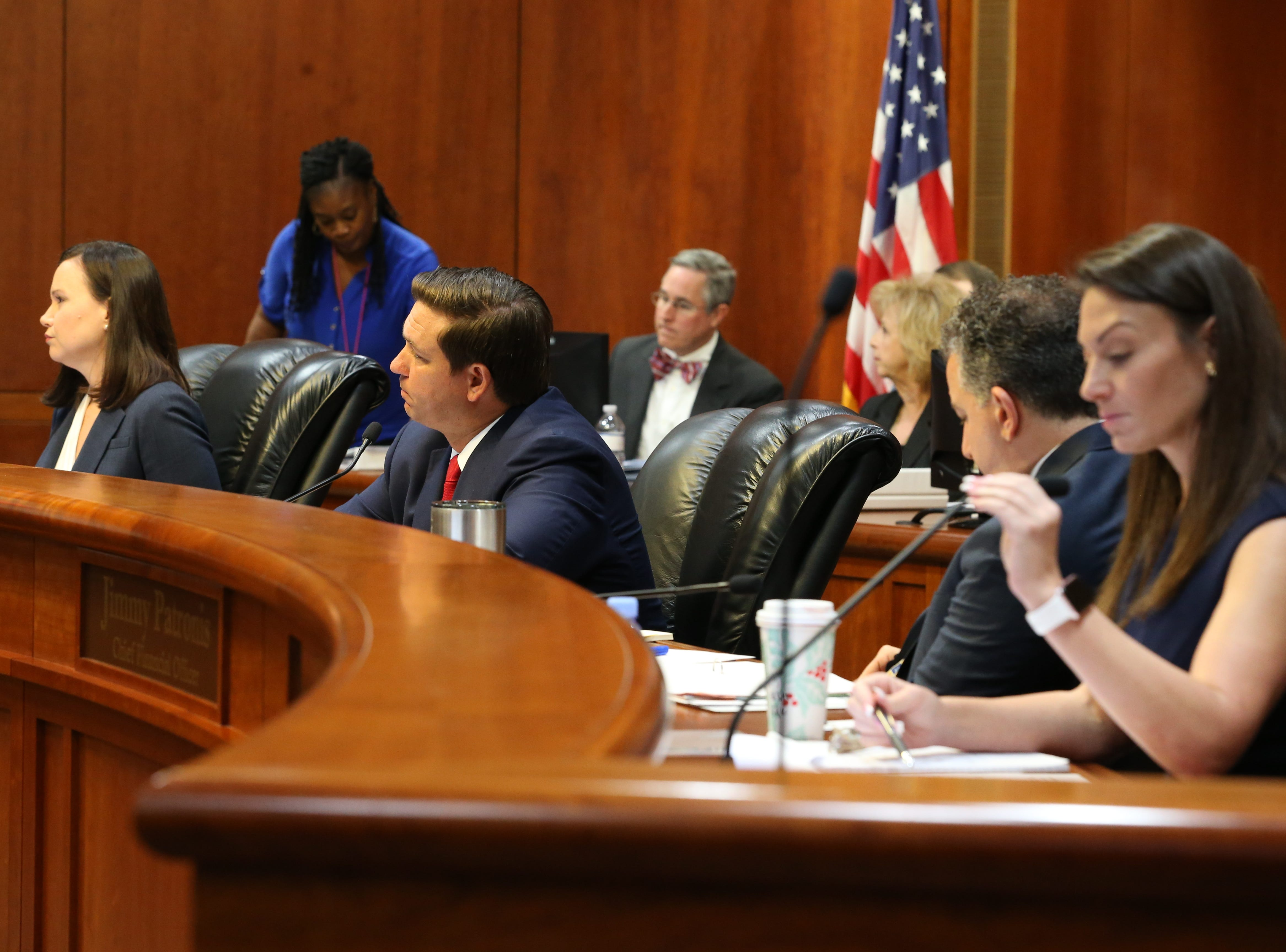 Gov. Ron DeSantis' Cabinet listens during a clemency board hearing where the Groveland Four were pardoned Friday, Jan. 11, 2019.