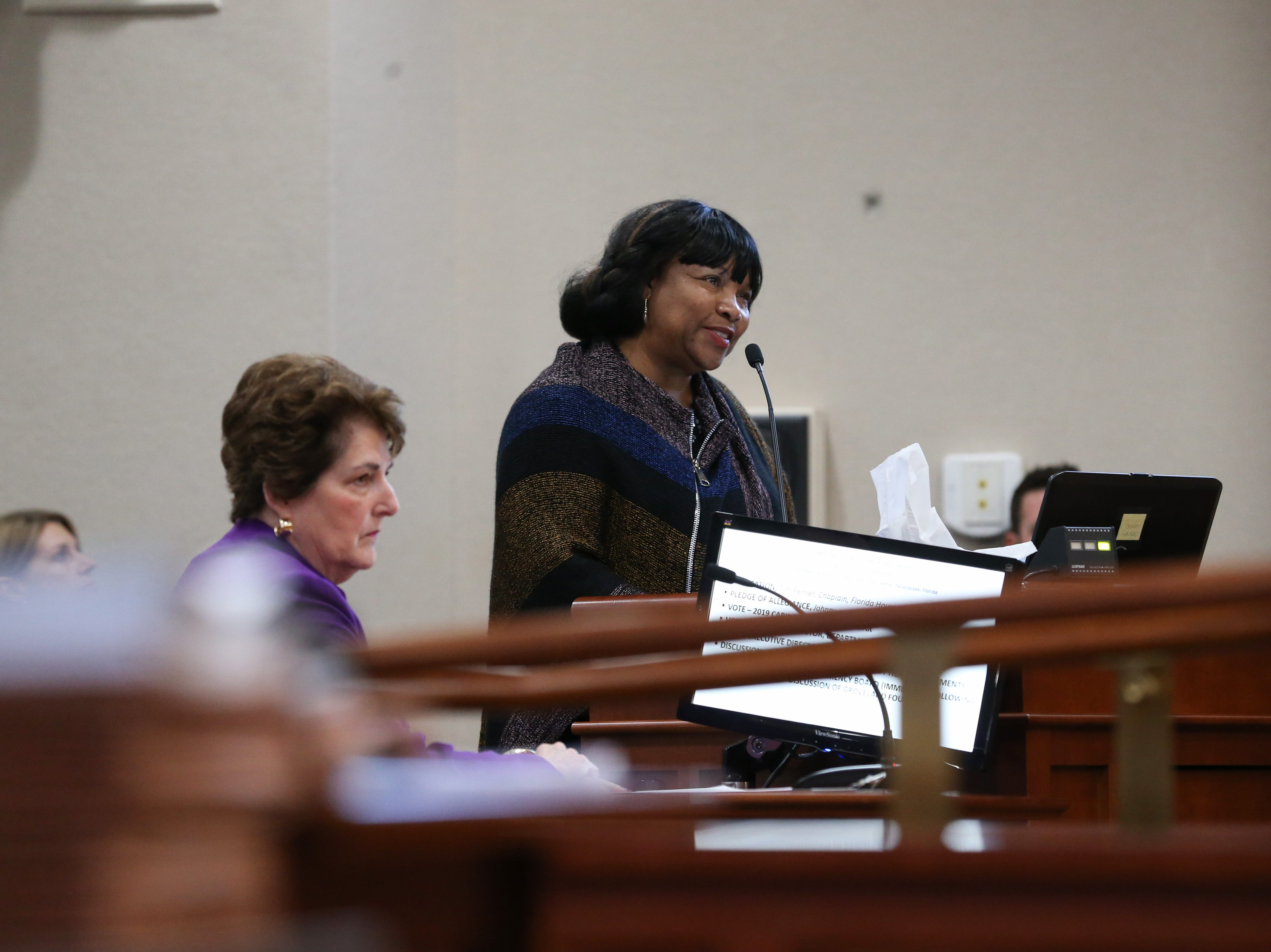 Sen. Geraldine Thompson gives a statement in favor of the Groveland Four during a clemency board hearing where the Groveland Four were pardoned Friday, Jan. 11, 2019.  During her statements, she called the accuser a liar, citing a paper that was turned into her when she was a professor stating that the family made up all of the accusations and were sworn to secrecy.