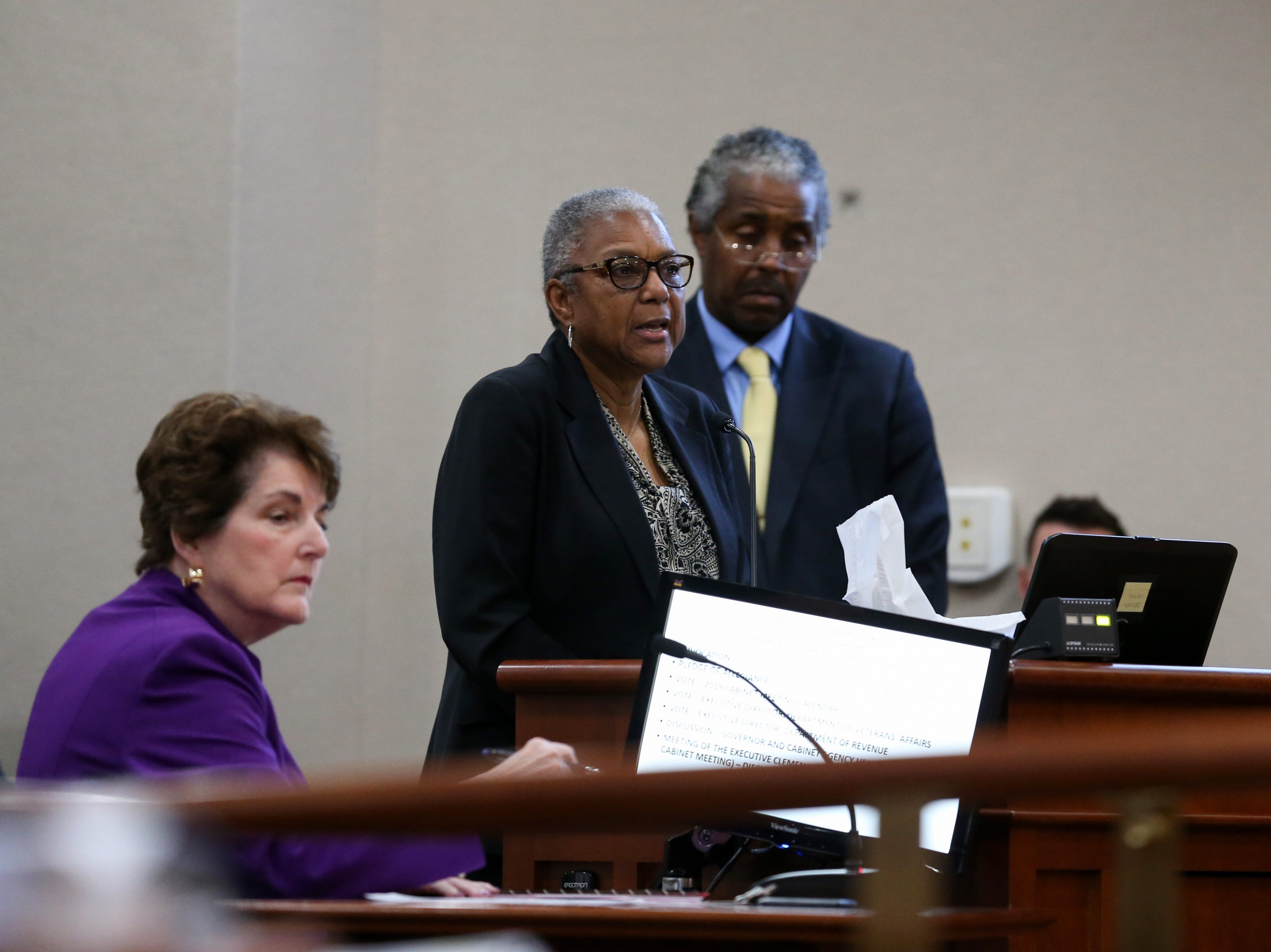 Carol (Greenlee) Crawley, daughter of Charles Greenlee, one of the Groveland Four, gives a statement during a clemency board hearing where the Groveland Four were pardoned Friday, Jan. 11, 2019.