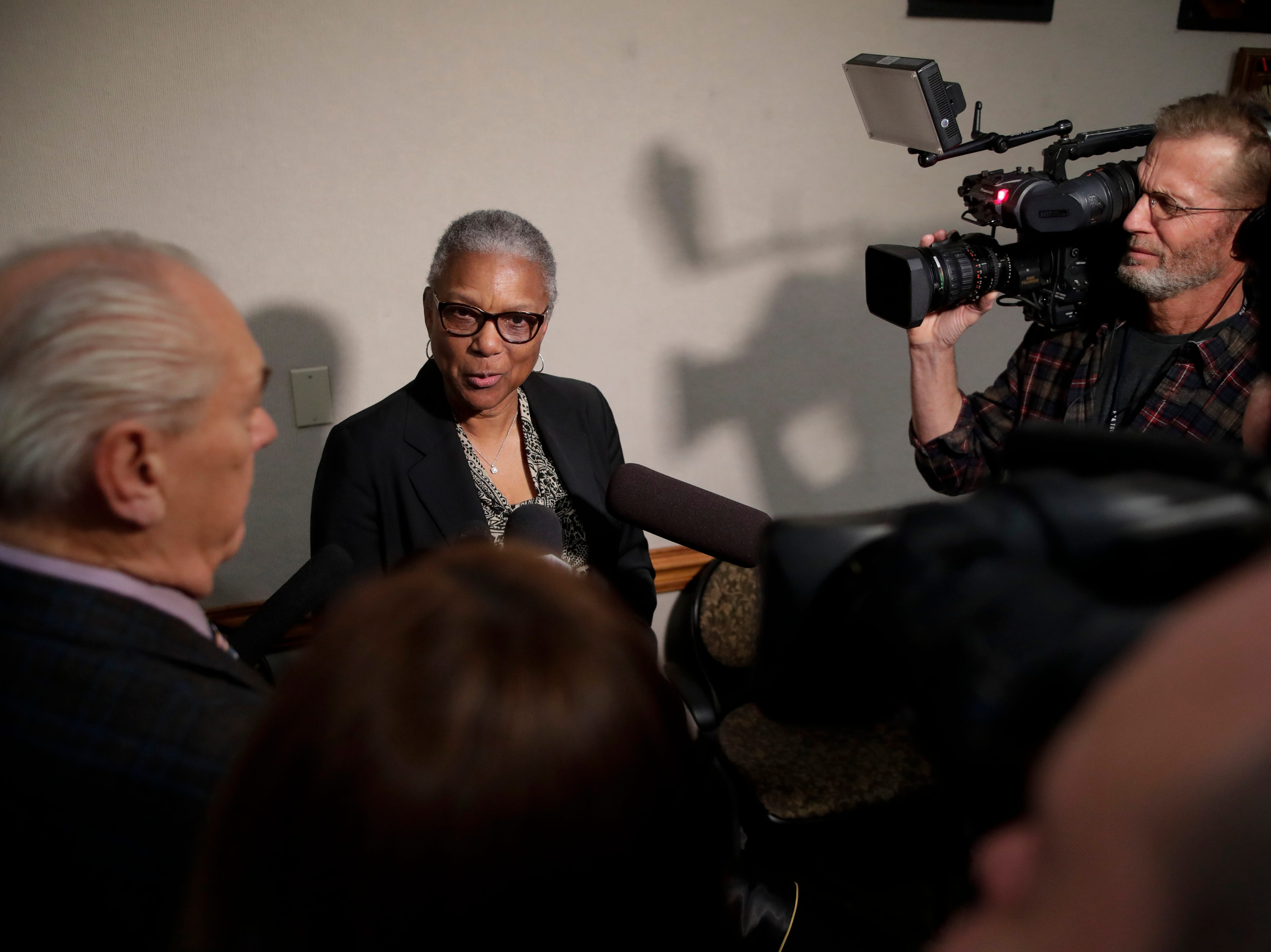 Carol (Greenlee) Crawley, daughter of Charles Greenlee, one of the men in the Groveland Four, talks about her reaction to the pardon that was given to her father by Gov. Ron DeSantis and his cabinet during a clemency board hearing Friday, Jan. 11, 2019.