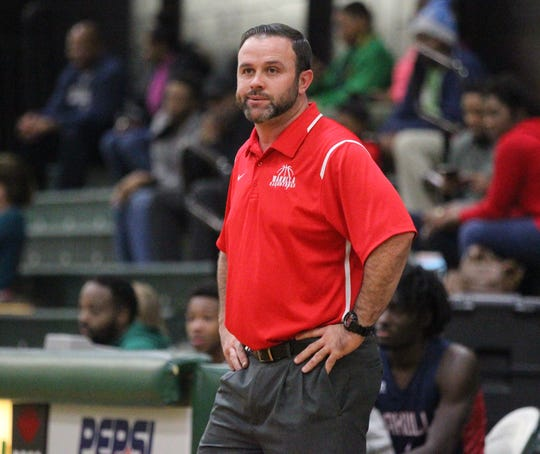 Wakulla boys basketball coach Michael Sweatt reacts to a call during a game at Lincoln on Jan. 10, 2019.