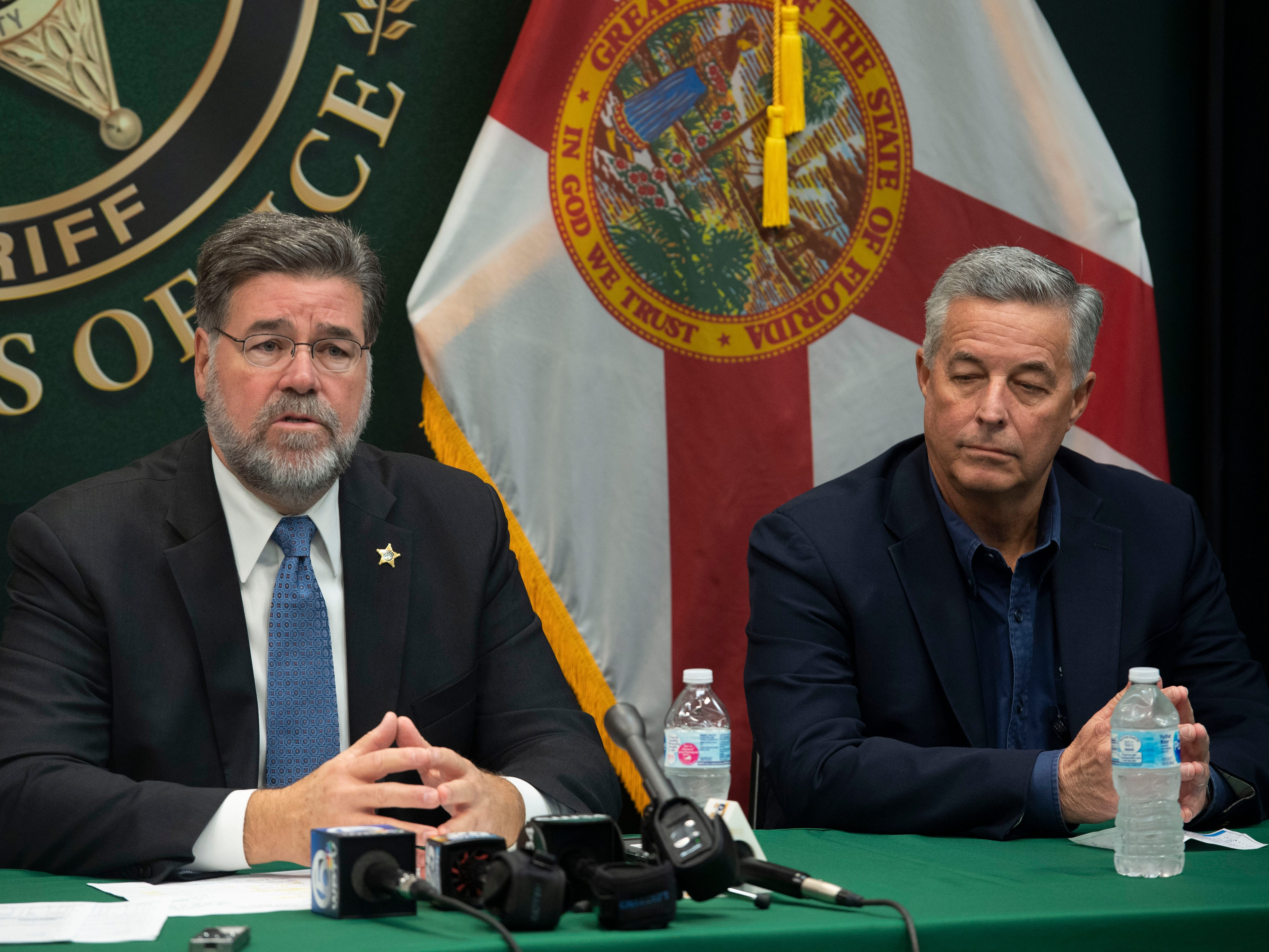 """Every threat on a school campus is taken seriously,"" said St. Lucie County Sheriff Ken Mascara (left) during a news conference with St. Lucie County Public Schools Superintendent Wayne Gent (right) and Captain Brian Hester (not pictured) on Friday, Jan. 11, 2019, at the St. Lucie County Sheriff's Office in Fort Pierce. Since the mass shooting at Marjory Stoneman Douglas High School last February in Parkland, Gent said the school district has mandated single points of entry at all schools, upgraded security systems and fencing around campuses and emphasized training for students and school staff."