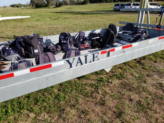 Yale University, the 2018 NCAA champions, practiced this week at Sebastian River Rowing along the C-54 Canal in Fellsmere.