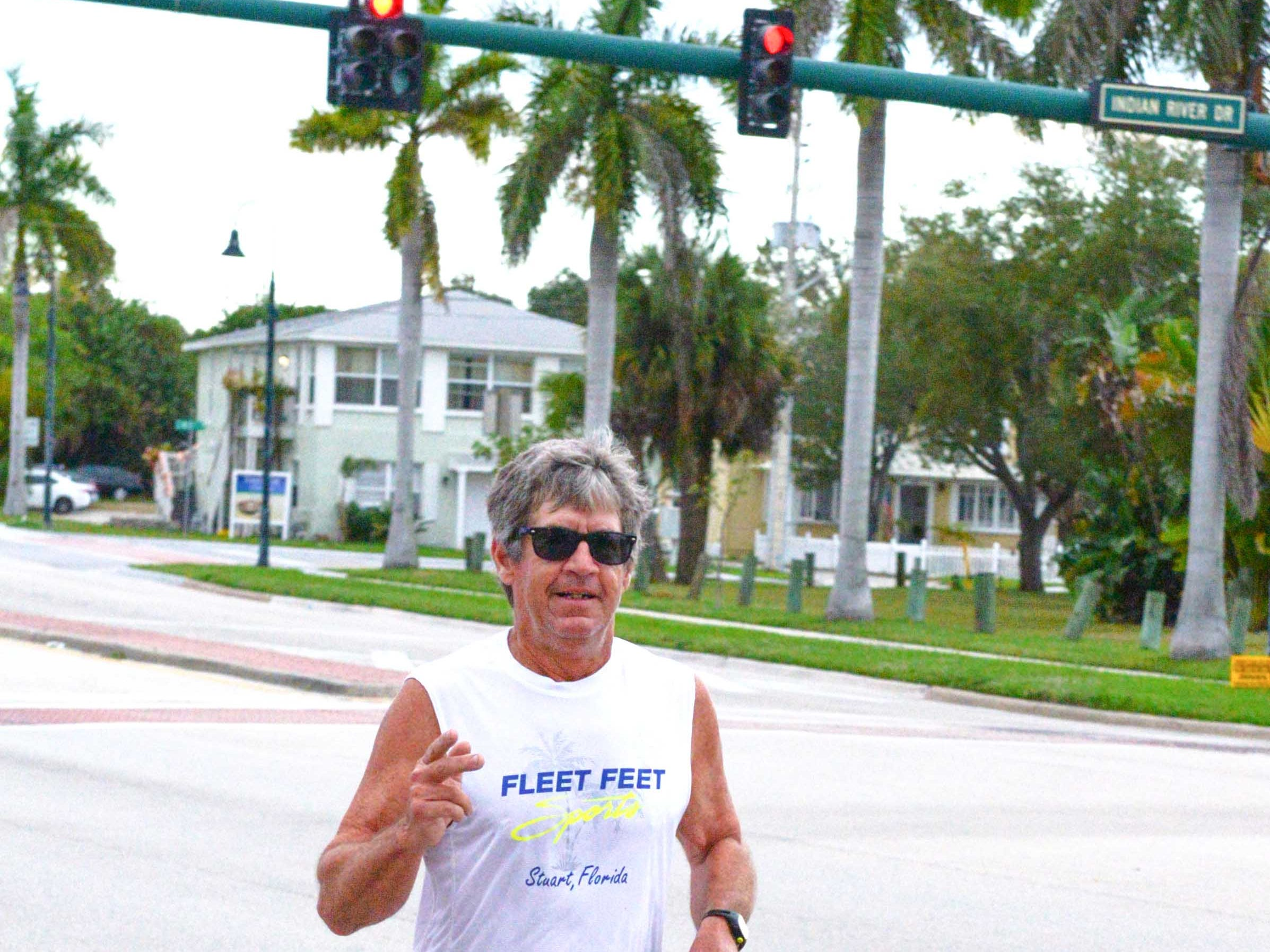 Kent Leonard runs in the Fort Pierce Sunrise Kiwanis Club's Bridge Buster 5K on Jan. 5, starting at the Riverwalk Center, over the South Bridge and back again.