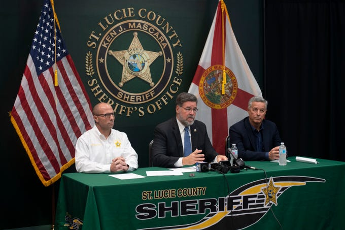 """""""Every threat on a school campus is taken seriously,"""" said St. Lucie County Sheriff Ken Mascara during a news conference with St. Lucie County Public Schools Superintendent Wayne Gent and Captain Brian Hester on Friday, Jan. 11, 2019, at the St. Lucie County Sheriff's Office in Fort Pierce. Since the mass shooting at Marjory Stoneman Douglas High School last February in Parkland, Gent said the school district has mandated single points of entry at all schools, upgraded security systems and fencing around campuses and emphasized training for students and school staff."""