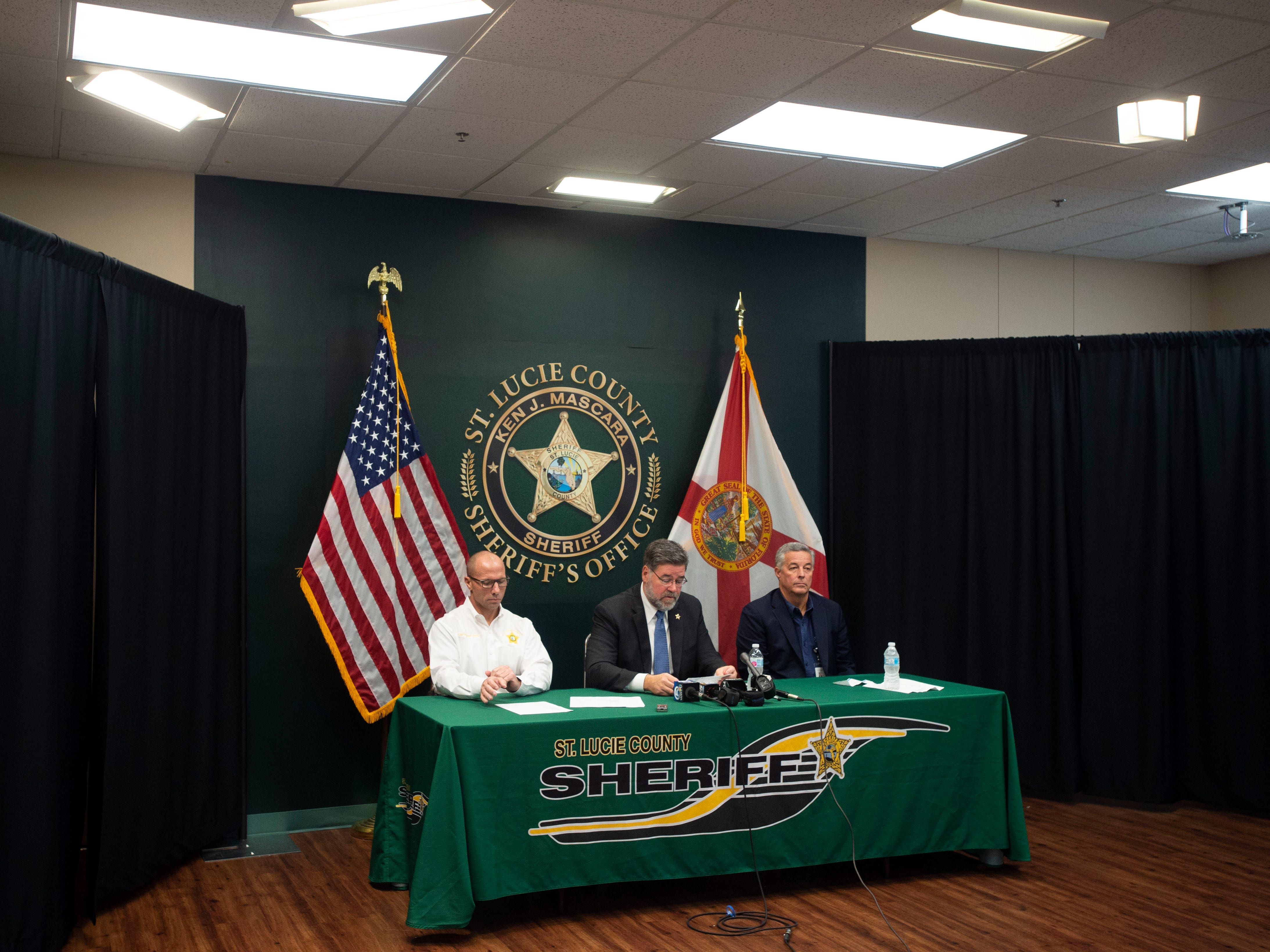 """Every threat on a school campus is taken seriously,"" said St. Lucie County Sheriff Ken Mascara during a news conference with St. Lucie County Public Schools Superintendent Wayne Gent and Captain Brian Hester on Friday, Jan. 11, 2019, at the St. Lucie County Sheriff's Office in Fort Pierce. Since the mass shooting at Marjory Stoneman Douglas High School last February in Parkland, Gent said the school district has mandated single points of entry at all schools, upgraded security systems and fencing around campuses and emphasized training for students and school staff."