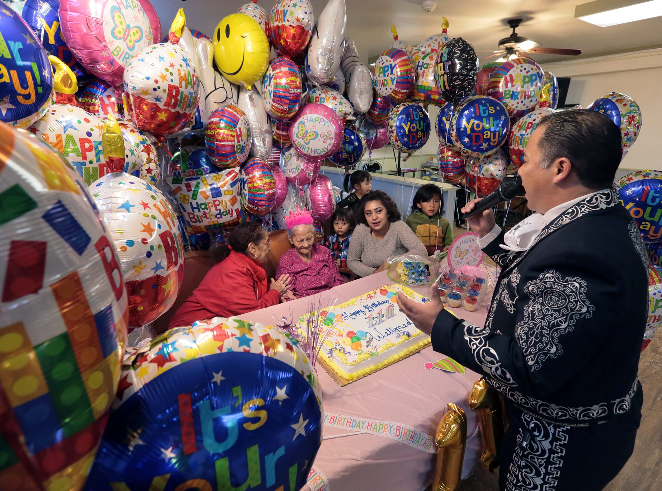 El Pasoan Maria de la Luz Angel Talamantes celebrates her 110th birthday Friday at Oasis Nursing and Rehabilitation Center. The Mexico native was a florist in Mexico before moving to El Paso.  Maria was joined by family and the residents at Oasis complete with mariachis.