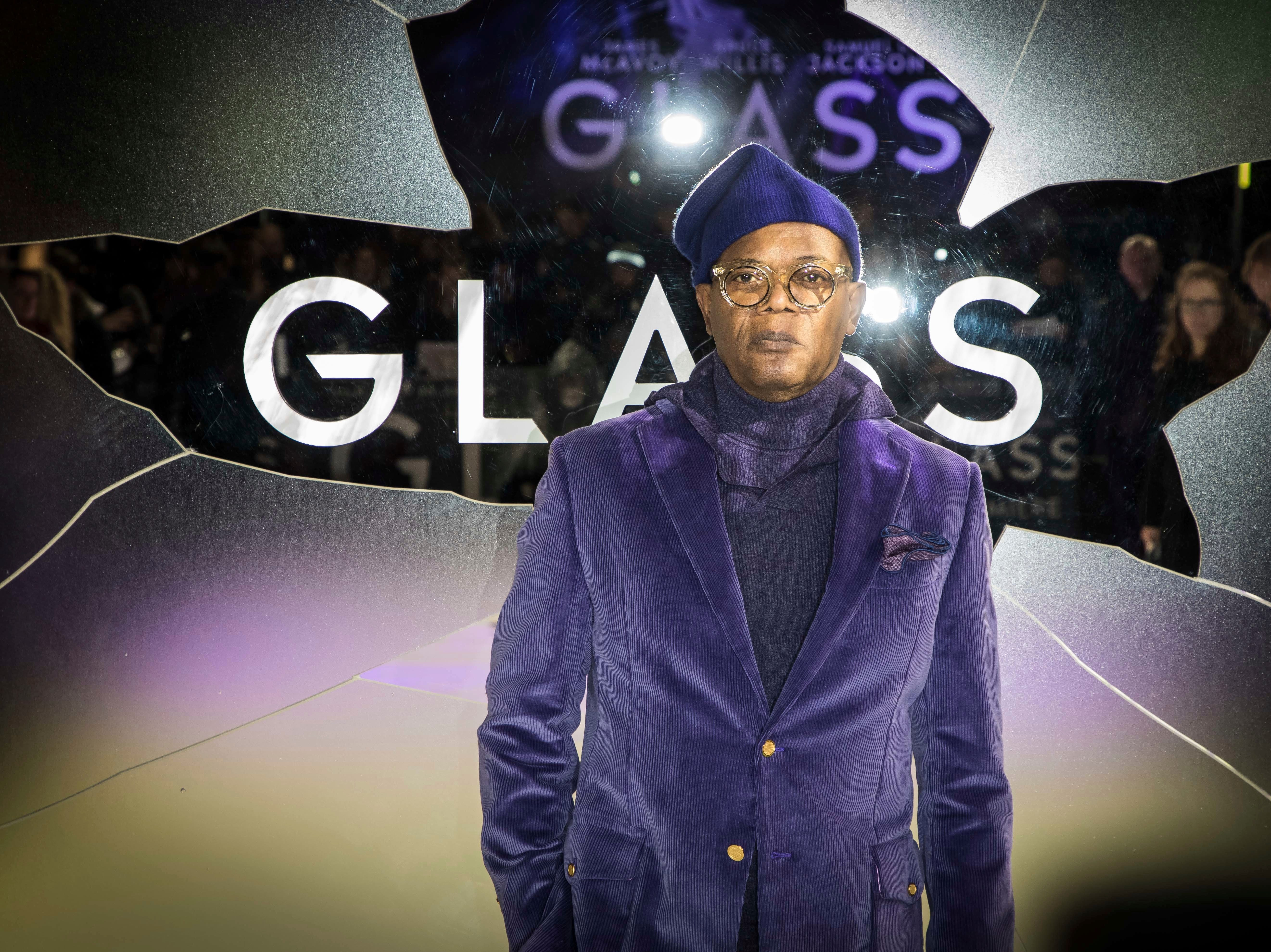 """Actor Samuel L. Jackson poses for photographers upon arrival at the premiere of the film """"Glass"""" in London on Wednesday, Jan. 9, 2019."""