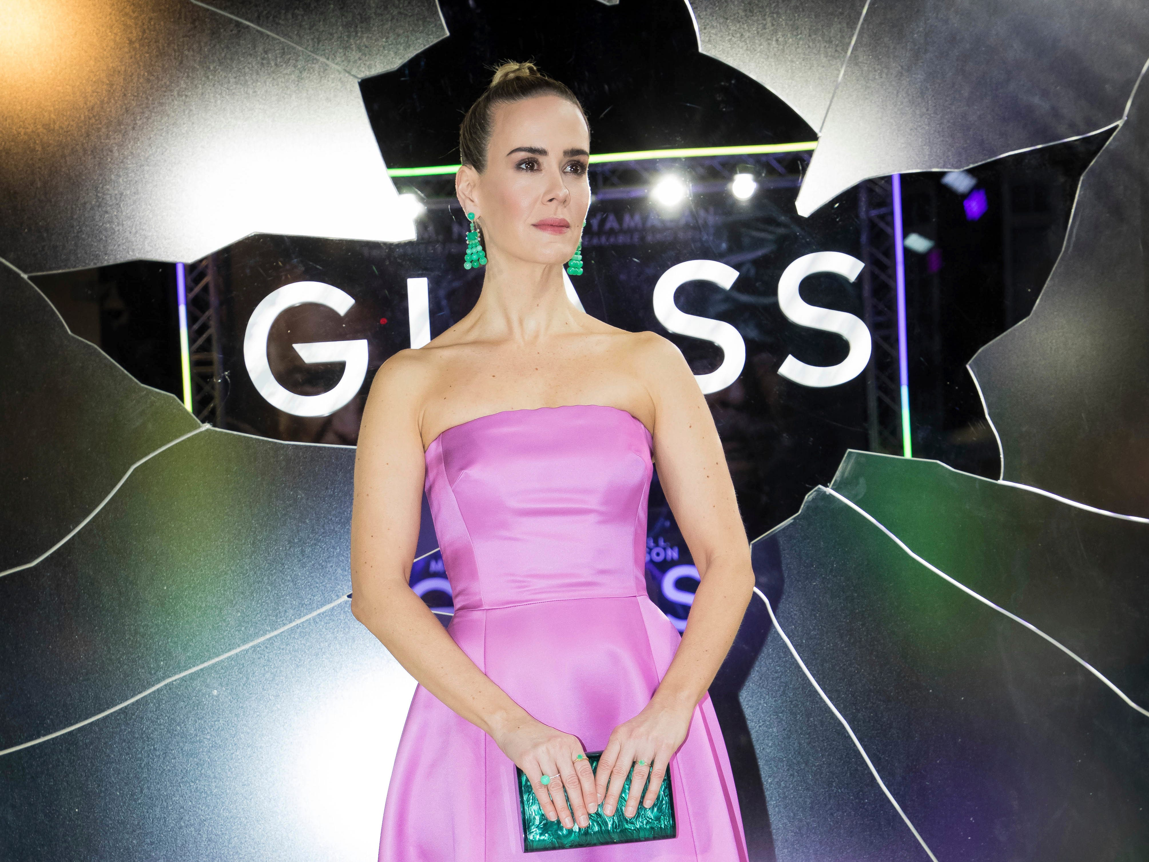 """Actress Sarah Paulson poses for photographers upon arrival at the premiere of the film """"Glass"""" in London on Wednesday, Jan. 9, 2019."""
