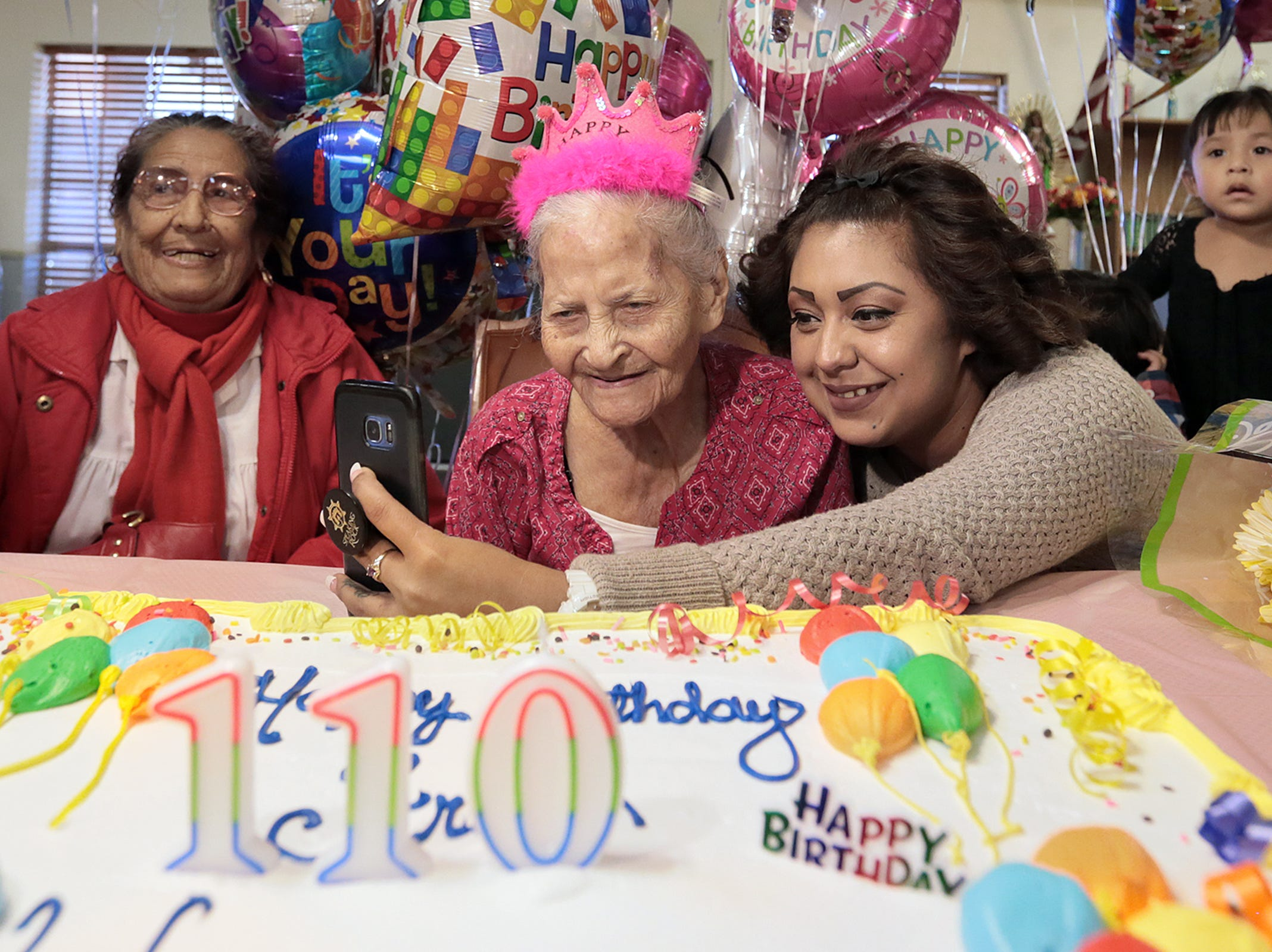 El Pasoan Maria de la Luz Angel Talamantes celebrates her 110th birthday Friday at Oasis Nursing and Rehabilitation Center. The Mexico native was a florist in Mexico before moving to El Paso. She was joined by family and the residents at Oasis.
