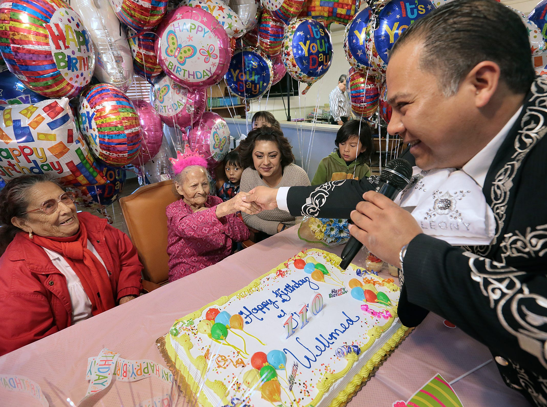 El Pasoan Maria de la Luz Angel Talamantes celebrates her 110th birthday Friday at Oasis Nursing and Rehabilitation Center. The Mexico native was a florist in Mexico before moving to El Paso. She was joined by family and the residents at Oasis, complete with mariachis.