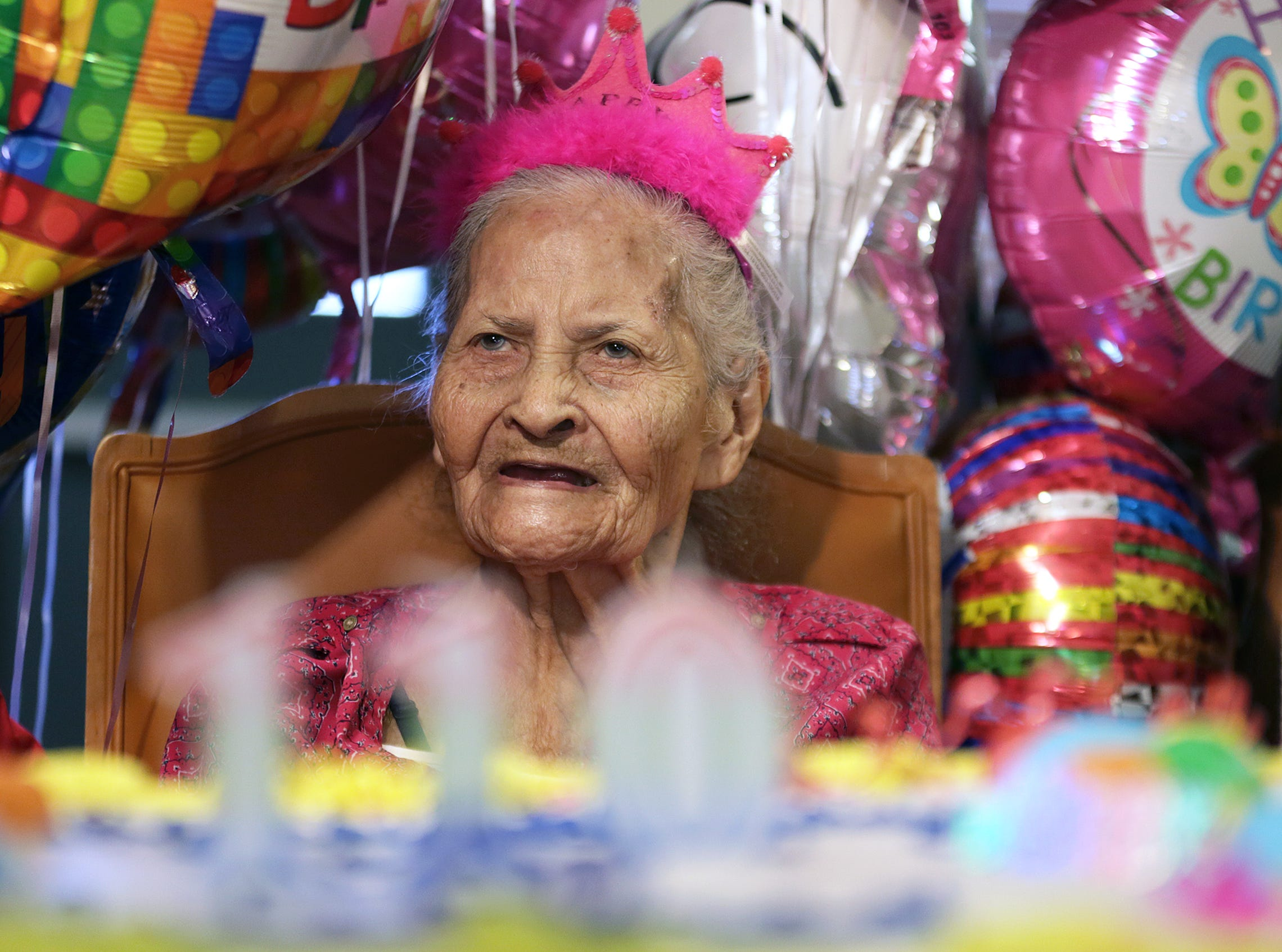 El Pasoan Maria de la Luz Angel Talamantes celebrates her 110th birthday Friday at Oasis Nursing and Rehabilitation Center. The Mexico native was a florist in Mexico before moving to El Paso.