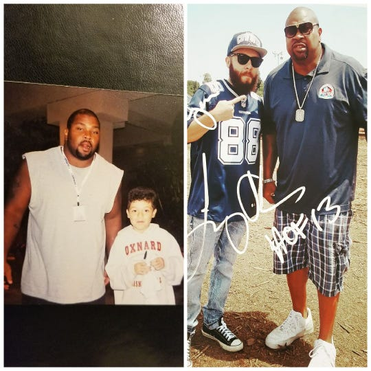 Cowboys fan Bryan Stange has been attending Dallas training camp in Oxnard so long that he has photos as both a child and an adult with Dallas Hall of Fame guard Larry Allen.