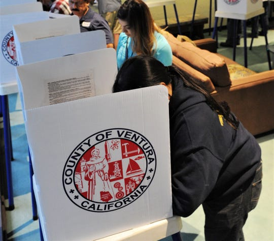 Voters cast their votes at Camarillo City Hall in November 2018.