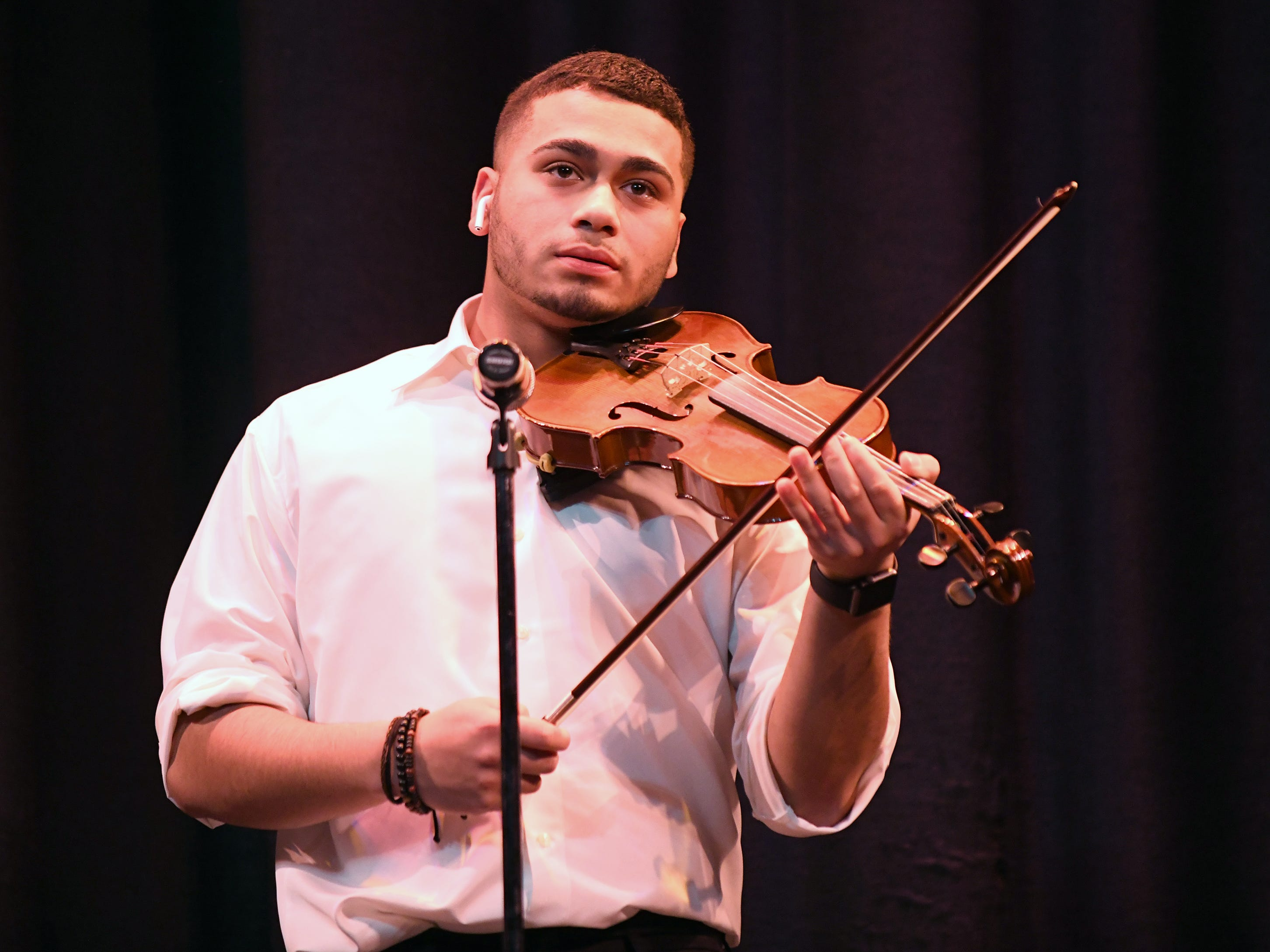 Colby Martinez performs during the talent portion of Mr. Vineland 2019 at Vineland High School on Thursday, January 10.