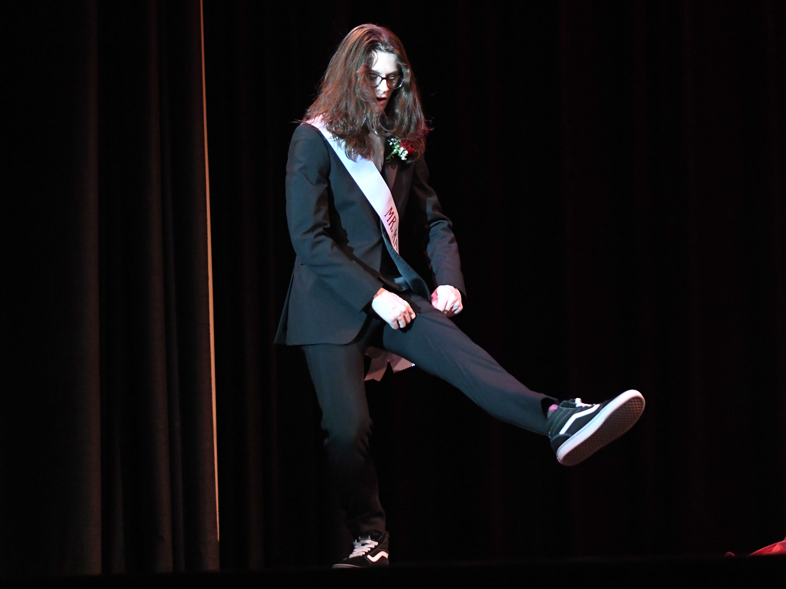 Trey Luciano shows off his formal wear during Mr. Vineland 2019 at Vineland High School on Thursday, January 10.