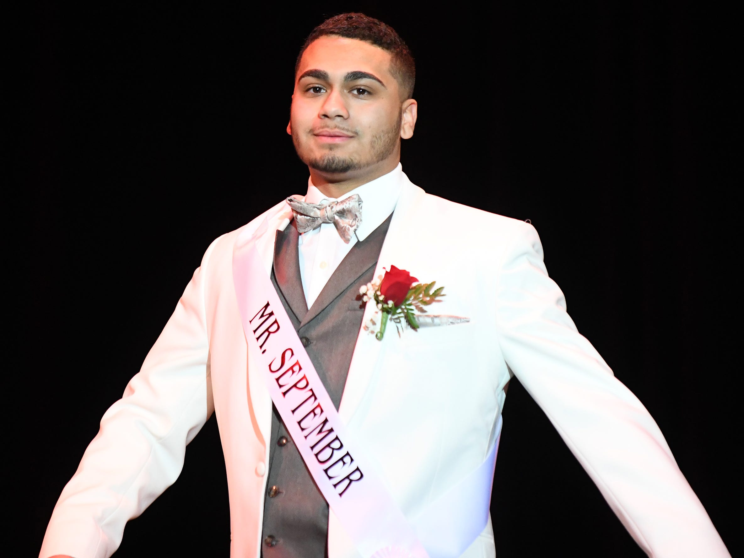 Colby Martinez shows off his formal wear during Mr. Vineland 2019 at Vineland High School on Thursday, January 10.
