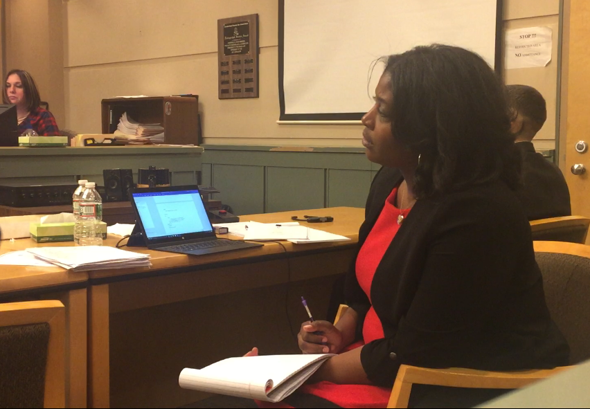 Defense co-counsel JoEllyn Jones intently watches the son of murder defendant Jeremiah E. Monell testifying on Thursday in Cumberland County Superior Court. Jones later cross-examined the 14-year-old on what he saw the night his mother was murdered.