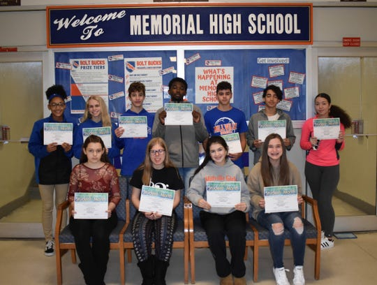 Millville Memorial High School's Students of the Month for December are: (back row, from left) Aaniyah Street, Hannah Runkle, Anthony Kukal, Khalil Griffin, Jacob Lewis, Miguel Centeno and Janelle Mosley; (front row, from left) Brianna Gilman, Natalie Harrison, Kelsea Martinez and Ella Gamber.
