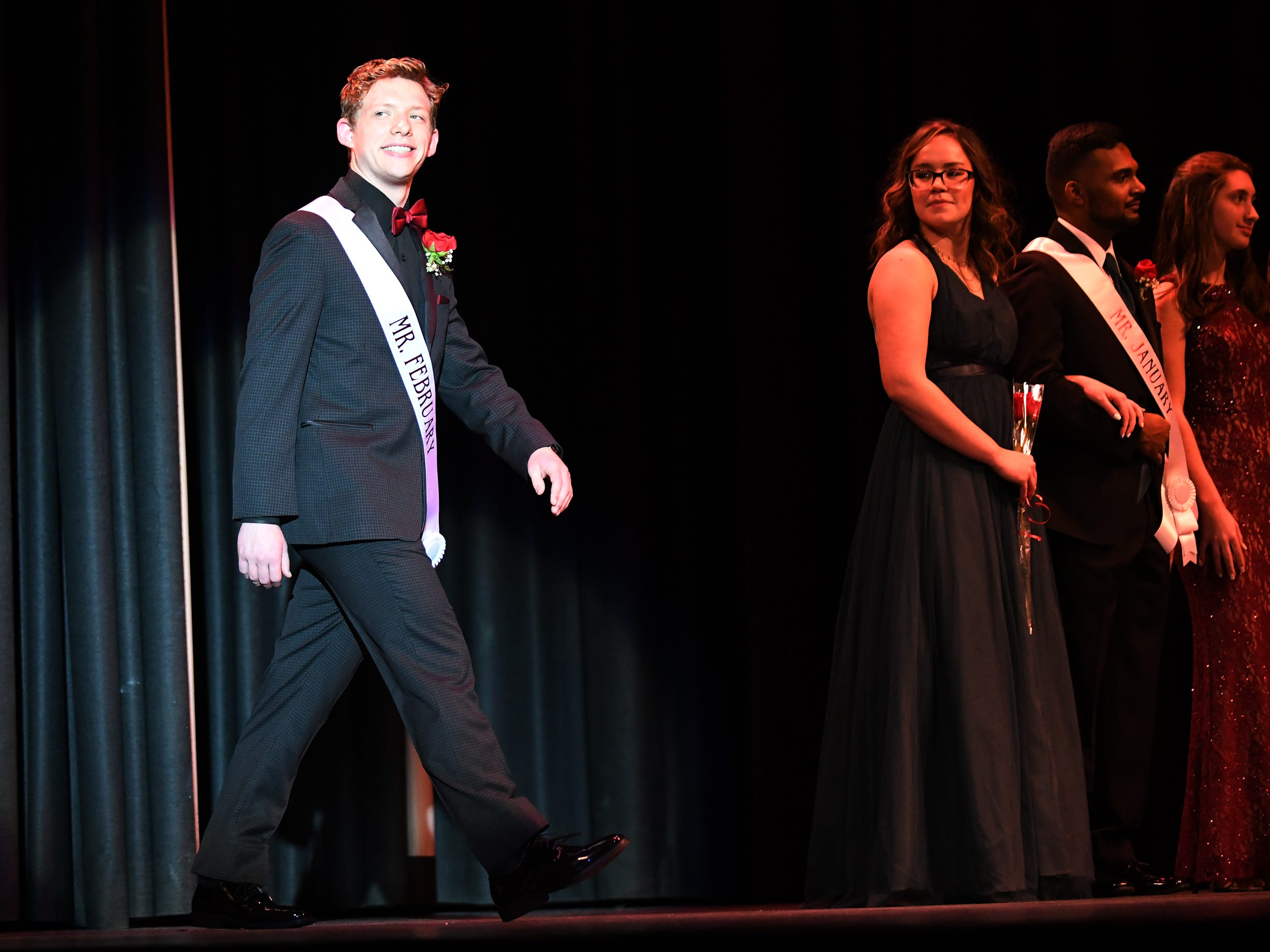 Tanner Bushman shows off his formal wear during Mr. Vineland 2019 at Vineland High School on Thursday, January 10.
