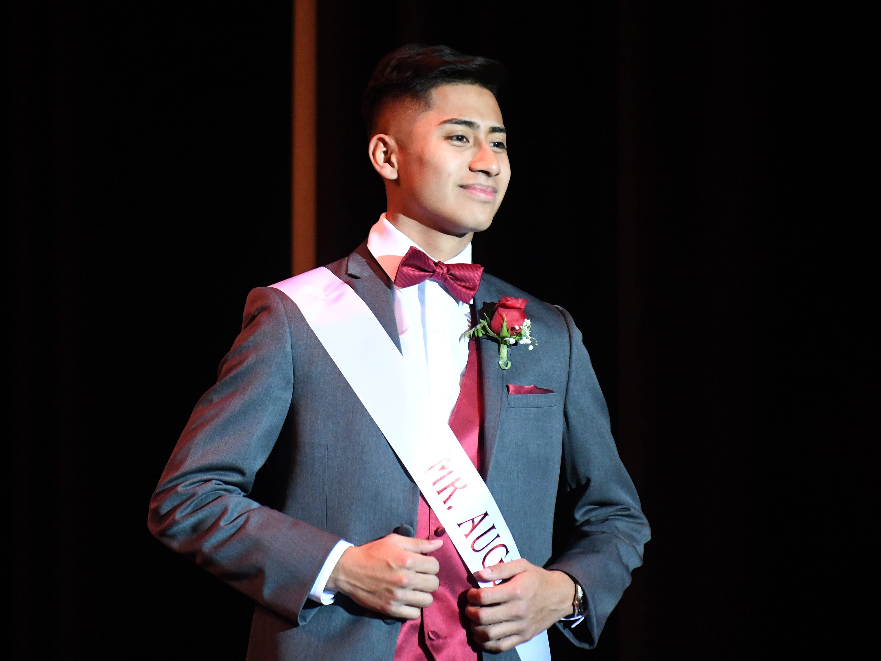 Maykon Hernandez shows off his formal wear during Mr. Vineland 2019 at Vineland High School on Thursday, January 10.