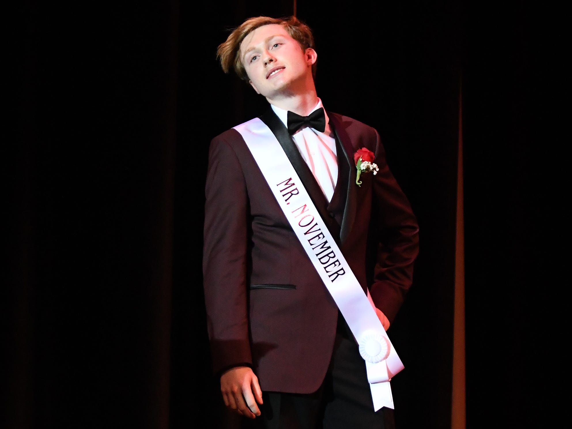 Tyler Kimmel shows off his formal wear during Mr. Vineland 2019 at Vineland High School on Thursday, January 10.