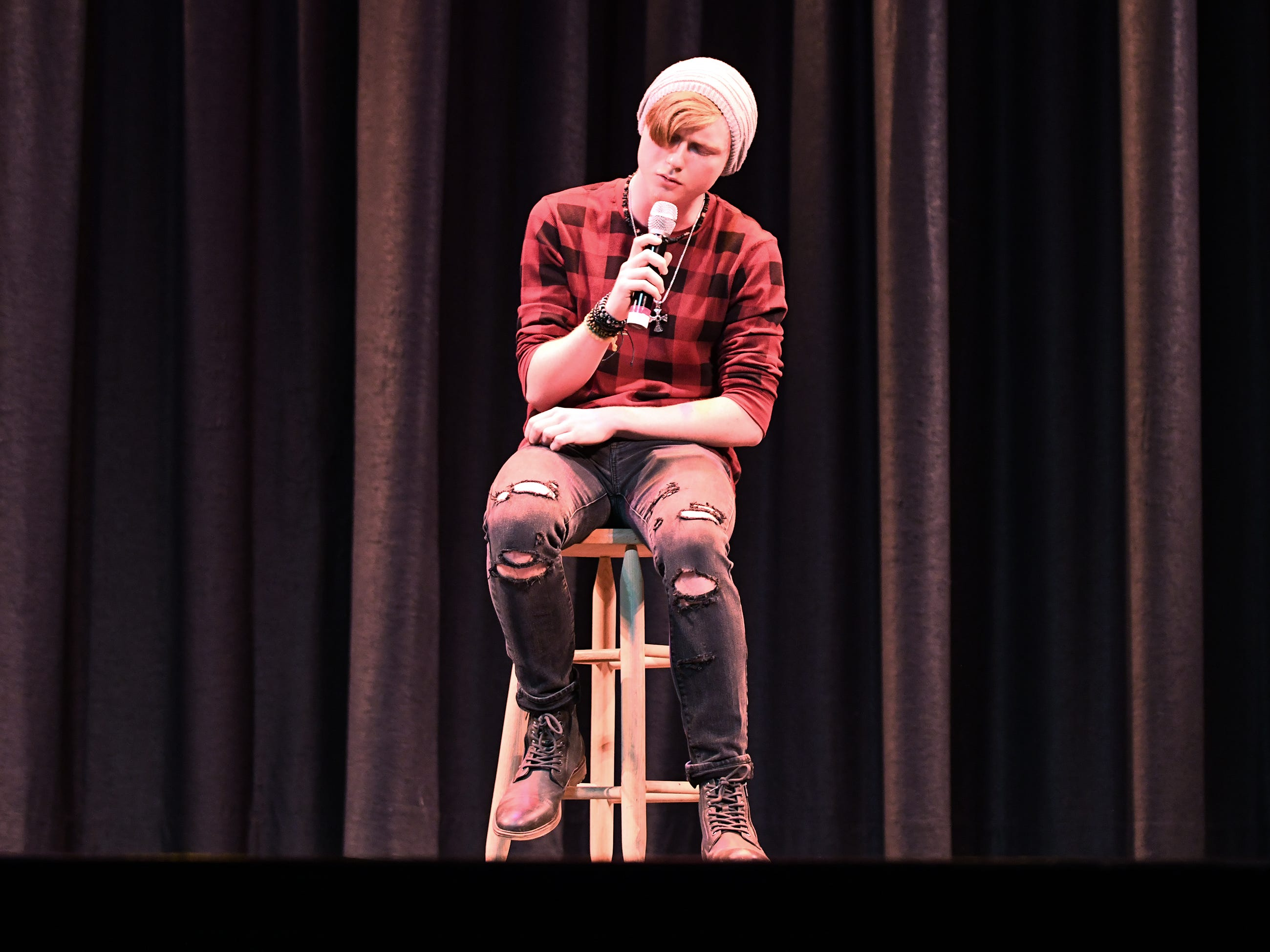 Tyler Kimmel performs during the talent portion of Mr. Vineland 2019 at Vineland High School on Thursday, January 10.