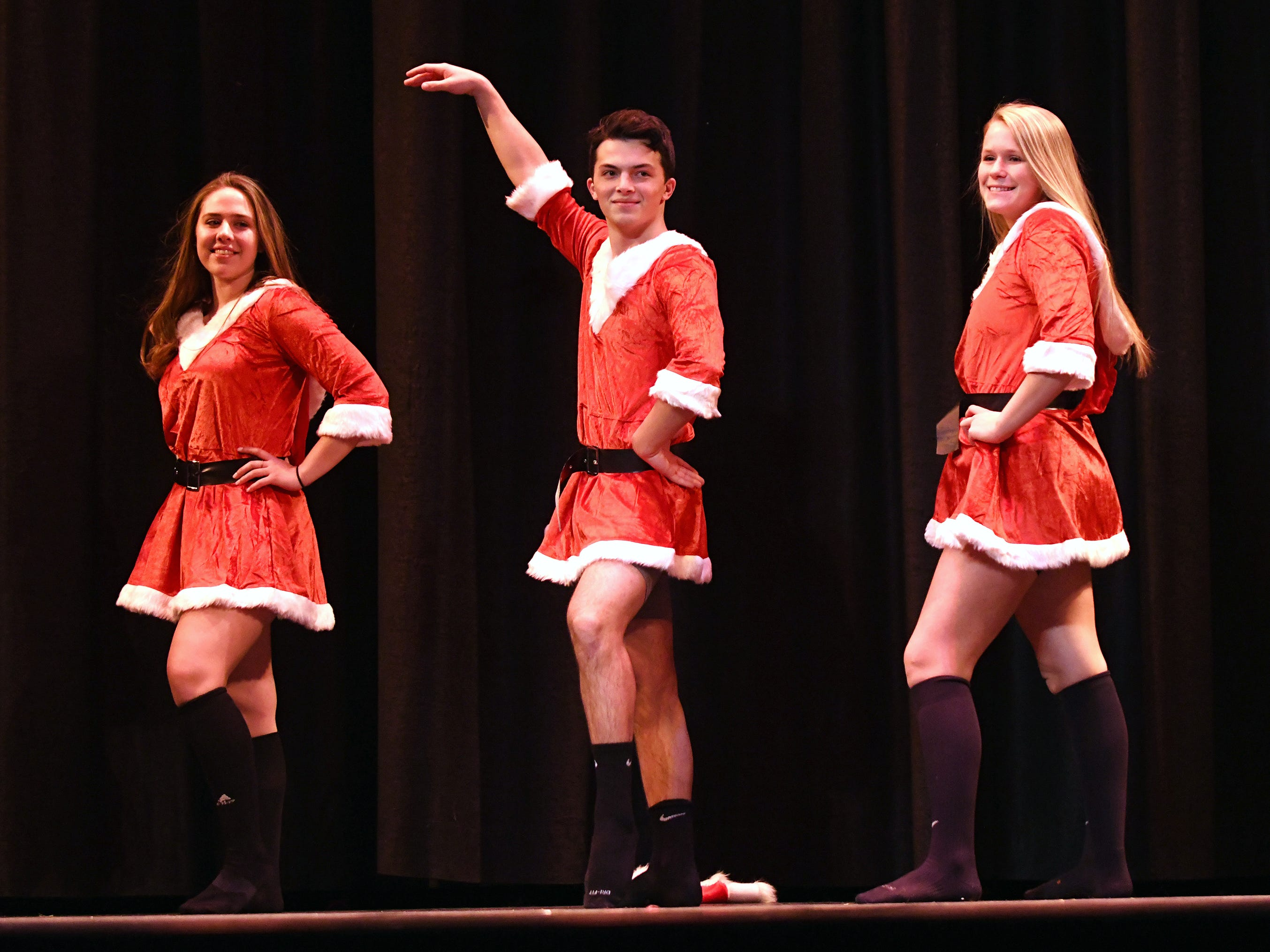 Camron Stahl (center) performs during the talent portion of Mr. Vineland 2019 at Vineland High School on Thursday, January 10.
