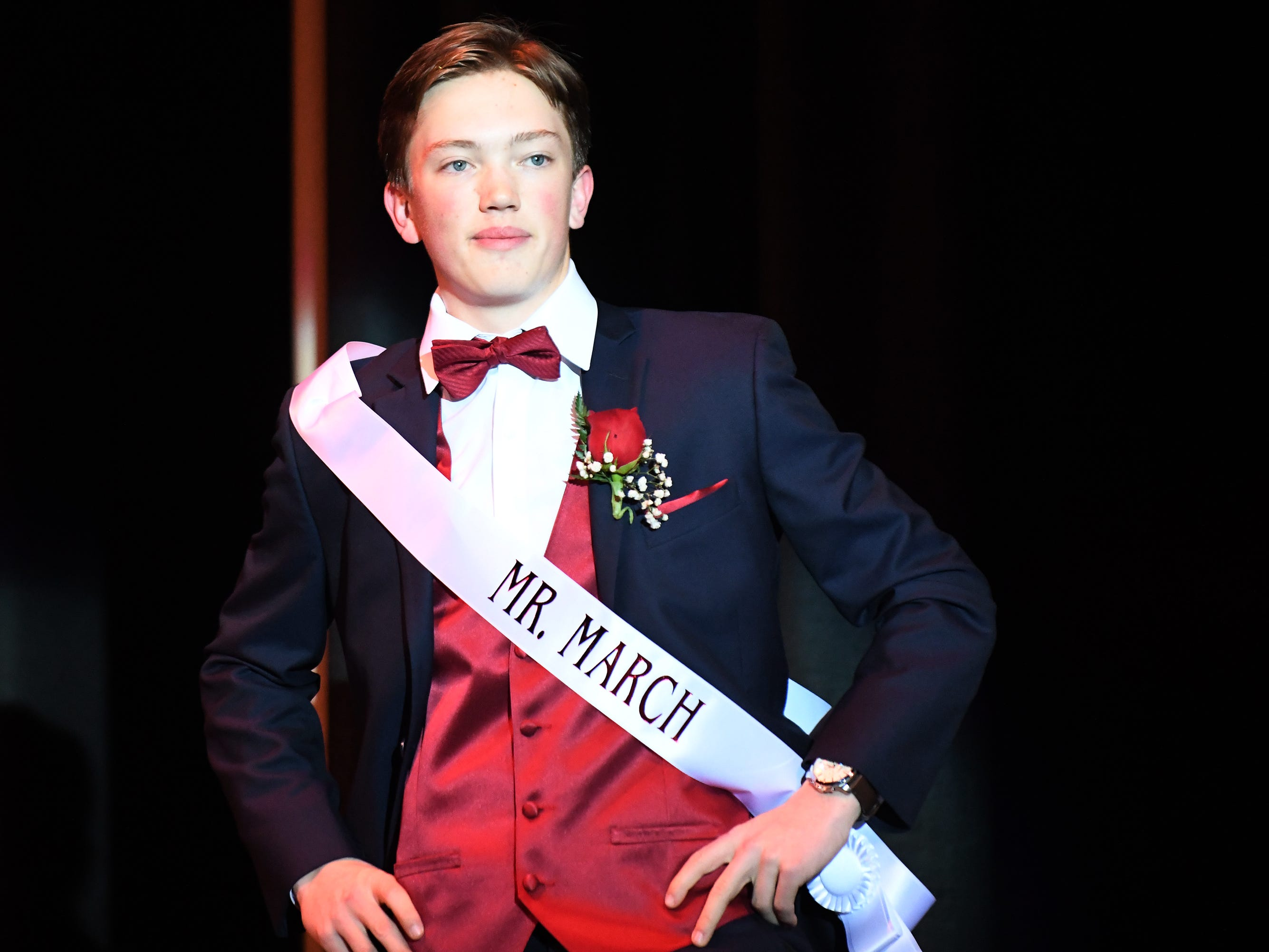 """Brandon """"Bubba"""" Beyer shows off his formal wear during Mr. Vineland 2019 at Vineland High School on Thursday, January 10."""