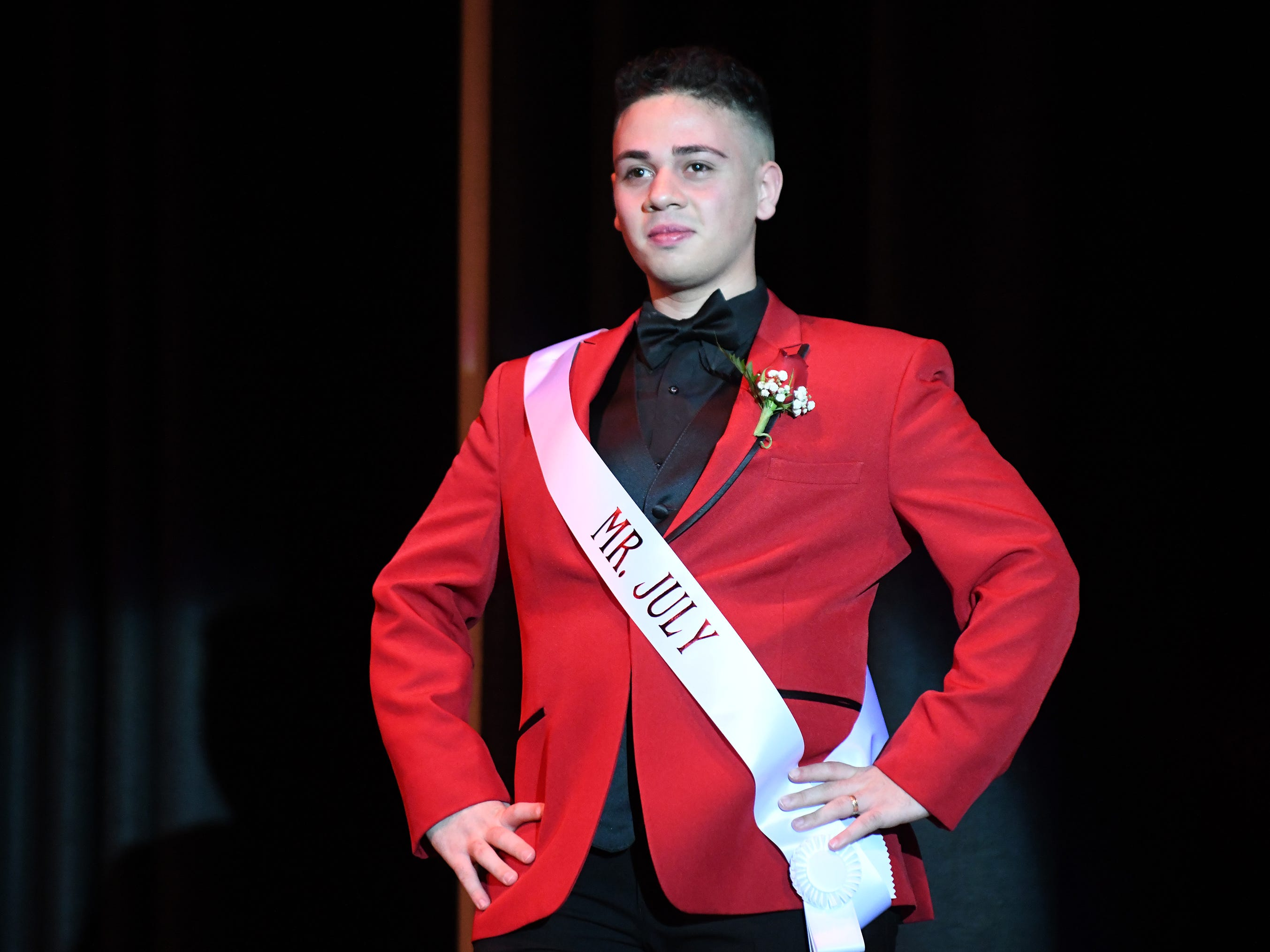 Isaac Rodriguez shows off his formal wear during Mr. Vineland 2019 at Vineland High School on Thursday, January 10.