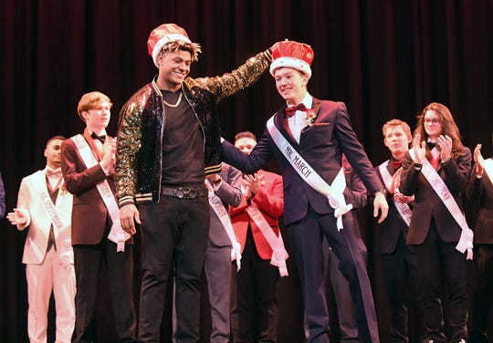Mr. Vineland 2019, Bubba Beyer, is awarded his crown by last year's Mr. Vineland winner, Isaih Pacheco at Vineland High School on Thursday, January 11.