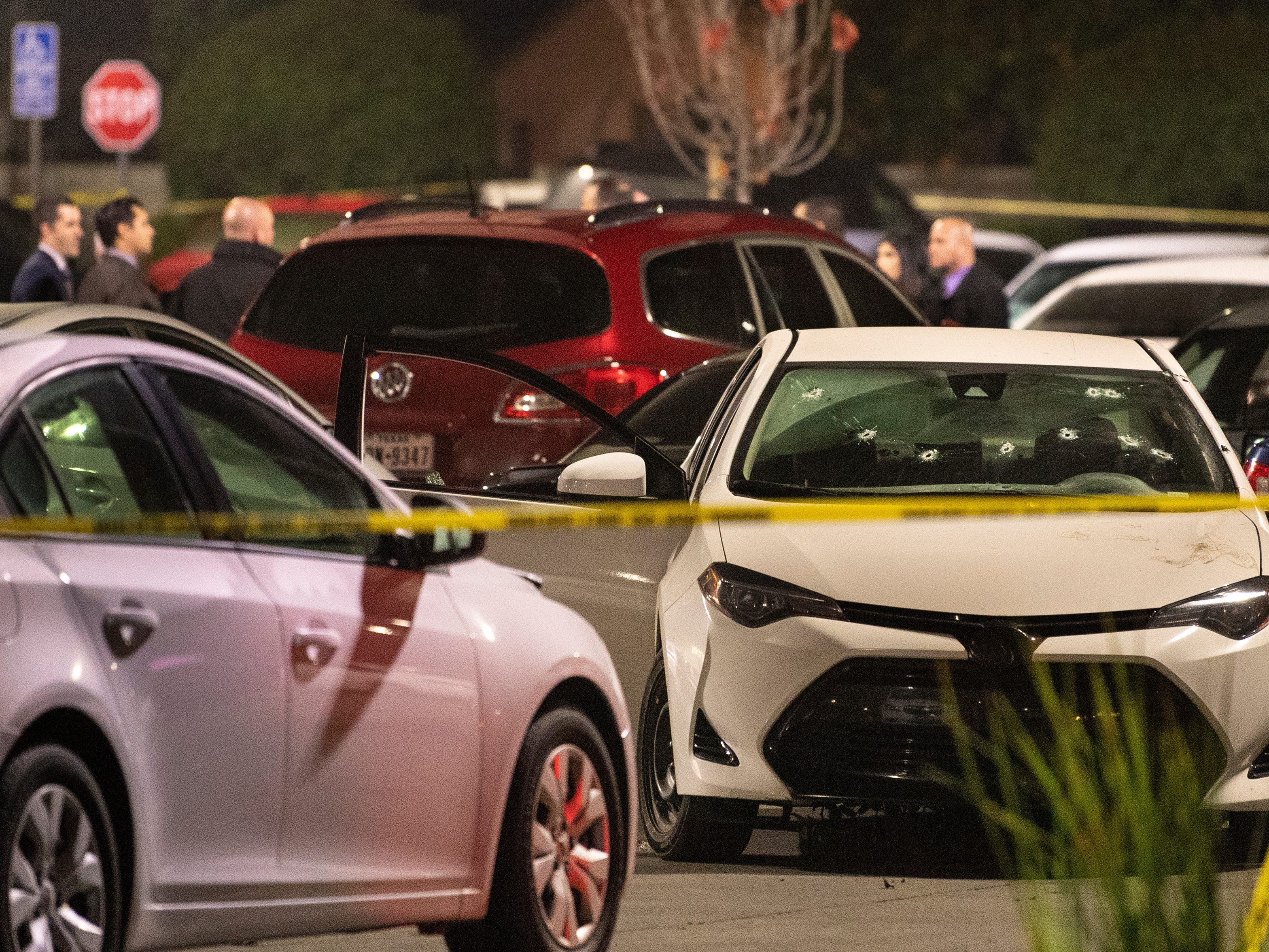 A stolen car driven by the suspect was hit with gun fire at least ten times as Visalia Police attempted to take the man into custody in the north parking lot of Visalia Mall on Thursday, January 10, 2019.