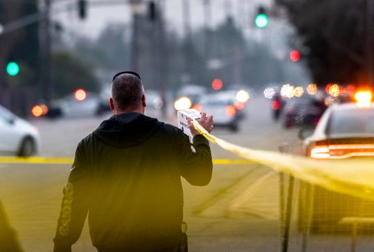 Visalia Police respond to an officer-involved shooting in the north parking lot of Visalia Mall on Thursday, January 10, 2019.
