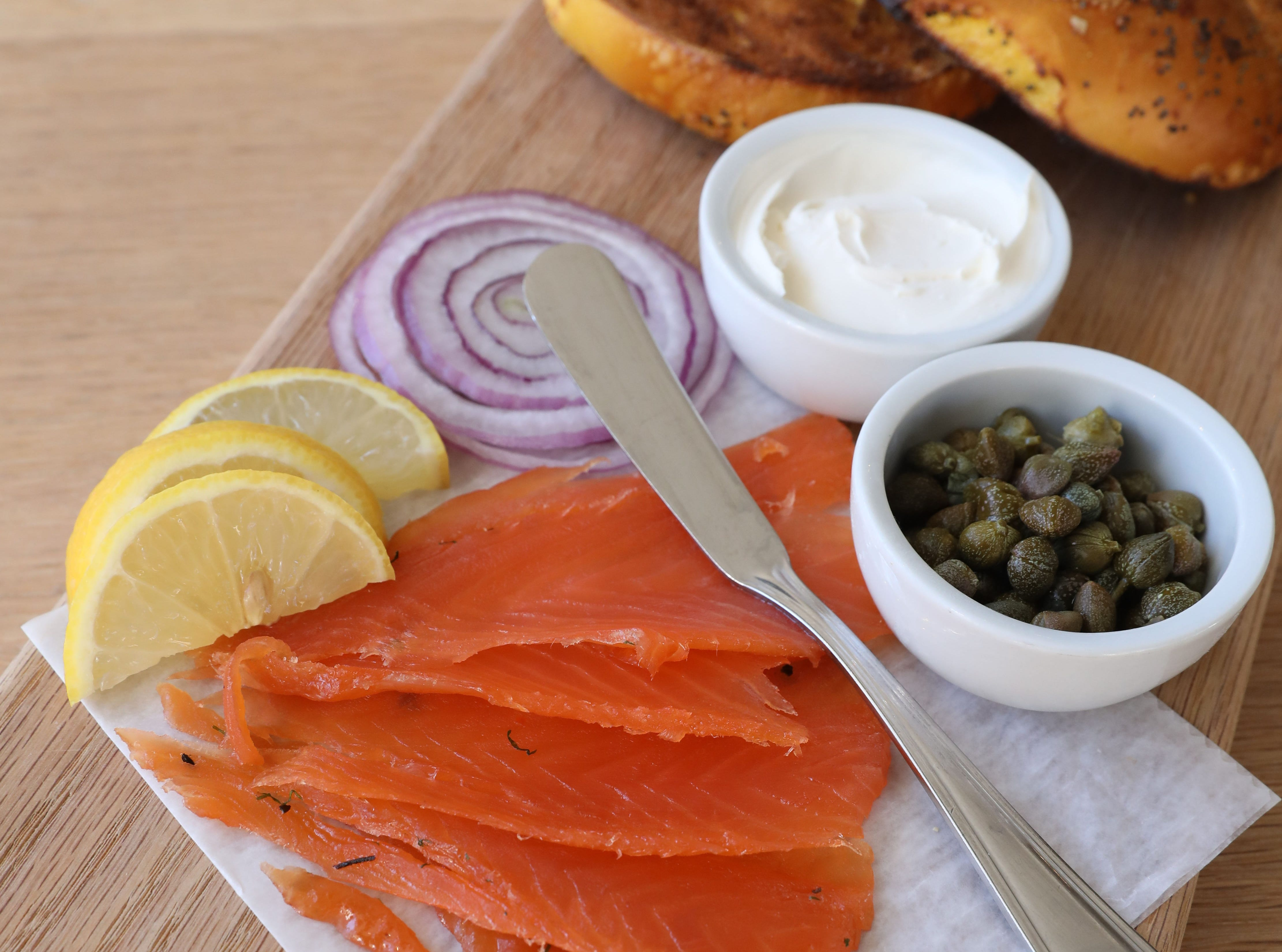 The House-Cured Gravlox platter with capers, red onions, cream cheese and bagel at Boro 6 Wine Bar in Hastings-on-Hudson, Jan. 11, 2019.