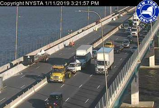 An accident involving three vehicles is blocking traffic on the Gov. Mario M. Cuomo Bridge.