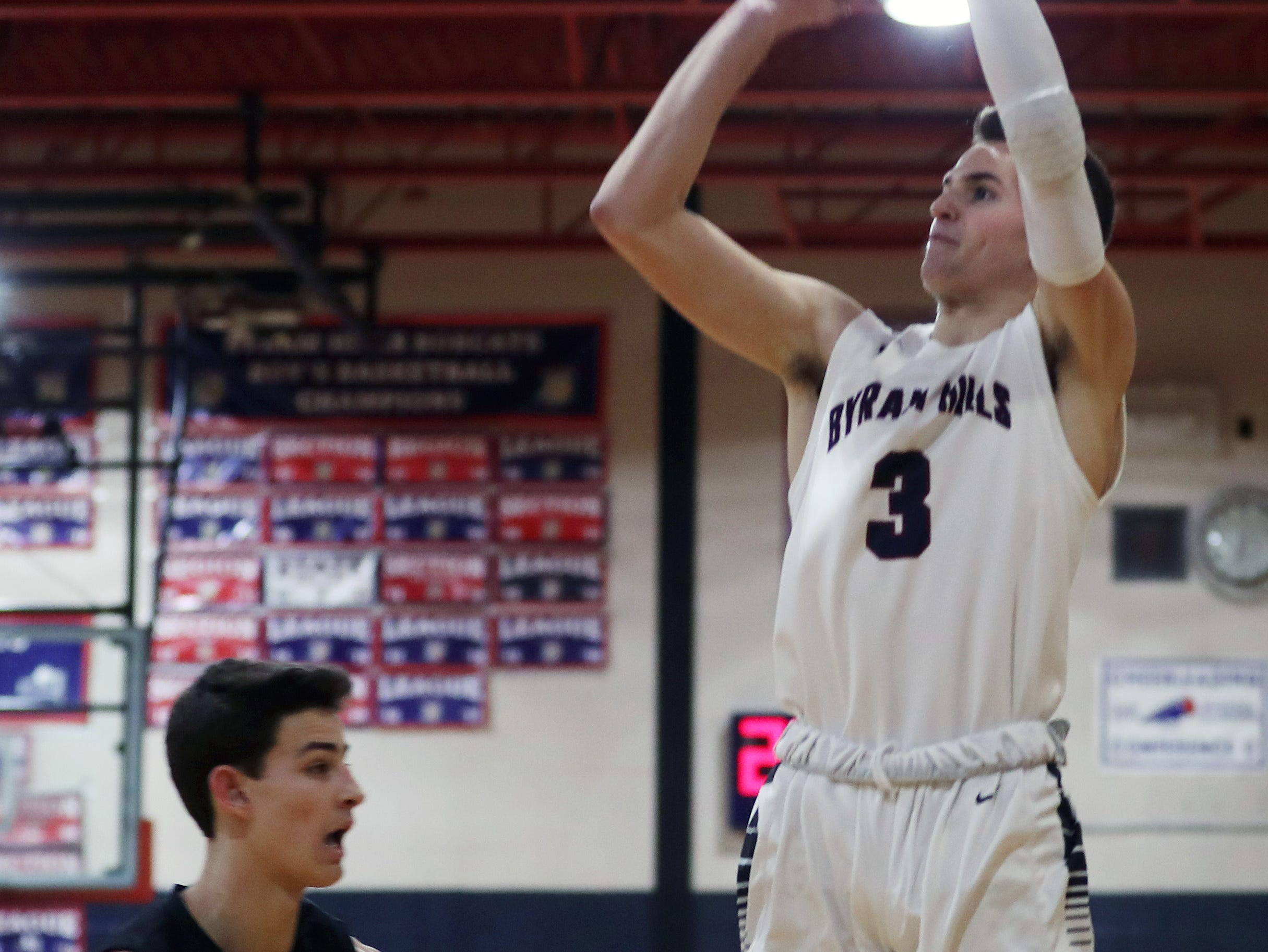 Byram Hills defeated Rye 41-34 during  boys basketball action at Byram Hills High School in Armonk Jan. 10, 2019.