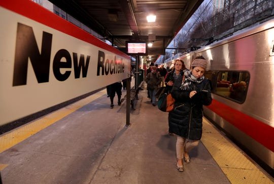 Homebound commuters get off of a Metro-North train at the New Rochelle station Jan. 10, 2019. The city is to trying to make New Rochelle a viable alternative for millennials to call home as opposed to New York City.