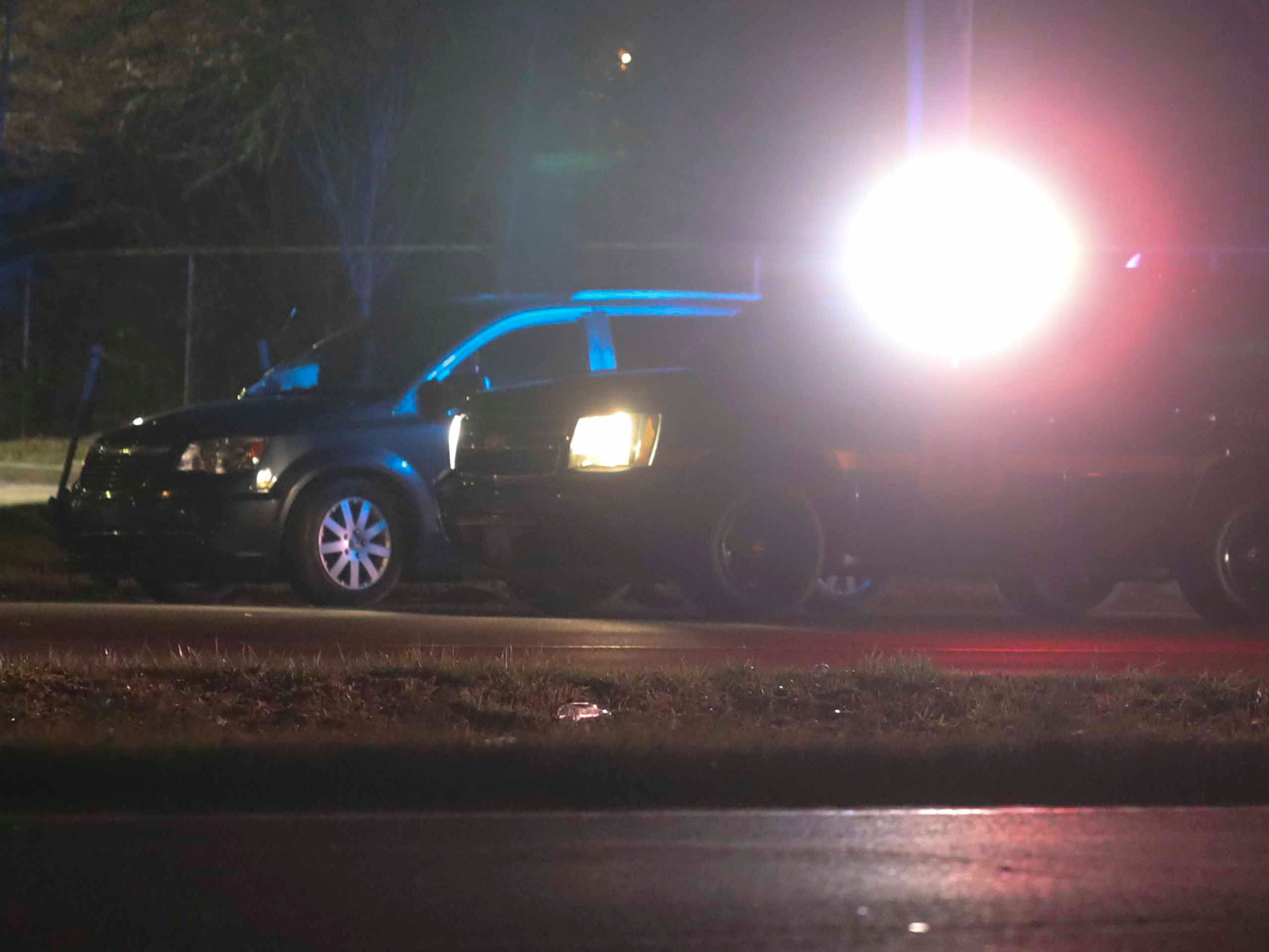 Emergency personnel work at the scene of an accident involving a pedestrian on southbound U.S. 13 near Beaver Brook Plaza near New Castle Thursday. A person was reportedly struck by a vehicle on U.S. 13 near Willow Chase Apartments and Vinway Road about 10 p.m.