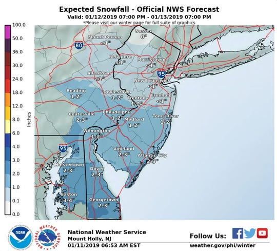 Southern Delaware will likely see 2-3 inches of snow this weekend.
