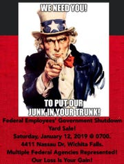 Affected federal employees in Wichita Falls, Texas, organize a yard sale to raise cash during the shutdown. Sale starts at 7 a.m. Saturday.