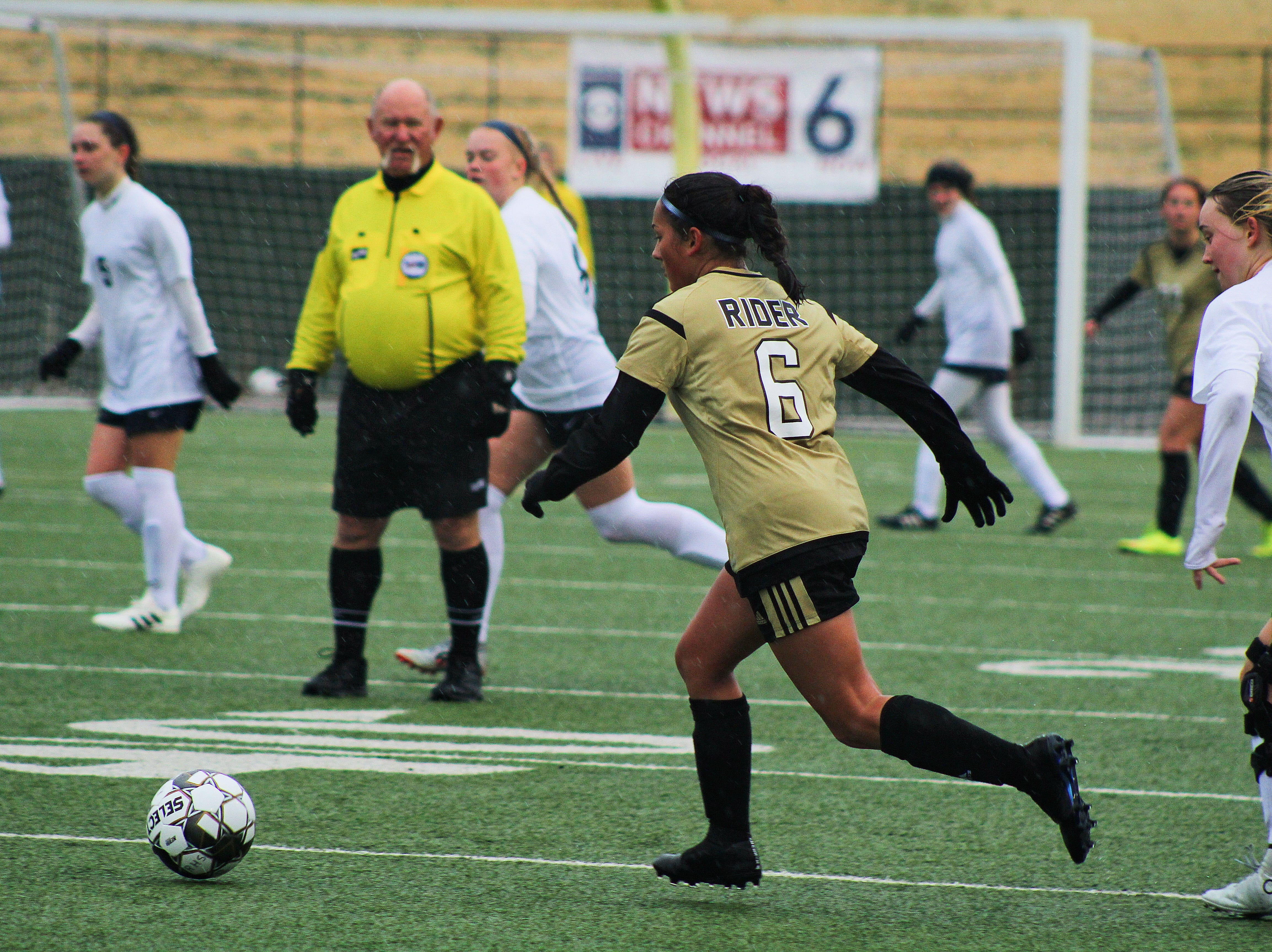 Gabby Garcia keeps the ball away from Keller's forwards. Rider defeated Keller 1-0 in the girls tournament Friday.