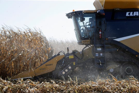 FILE - In this Sept. 12, 2018, file photo, a combine harvests corn during a demonstration at the Husker Harvest Days farm show in Wood River, Neb. Farmers already reeling from low prices and uncertainty amid the nation's trade dispute with China are welcoming a decision to delay a deadline for federal aid because of the partial government shutdown. Secretary of Agriculture Sonny Purdue on Tuesday, Jan. 8, 2019, announced the Agriculture Department would extend a Jan. 15 deadline for farmers to apply for payments to offset losses they incurred due to the trade dispute.